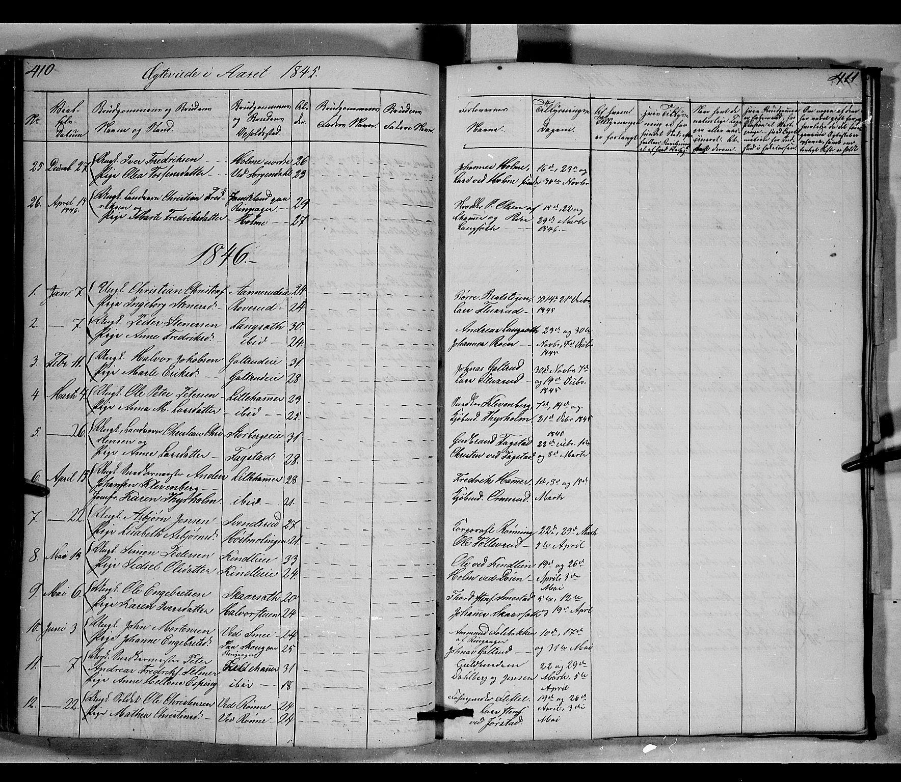 SAH, Fåberg prestekontor, Klokkerbok nr. 6, 1837-1855, s. 410-411