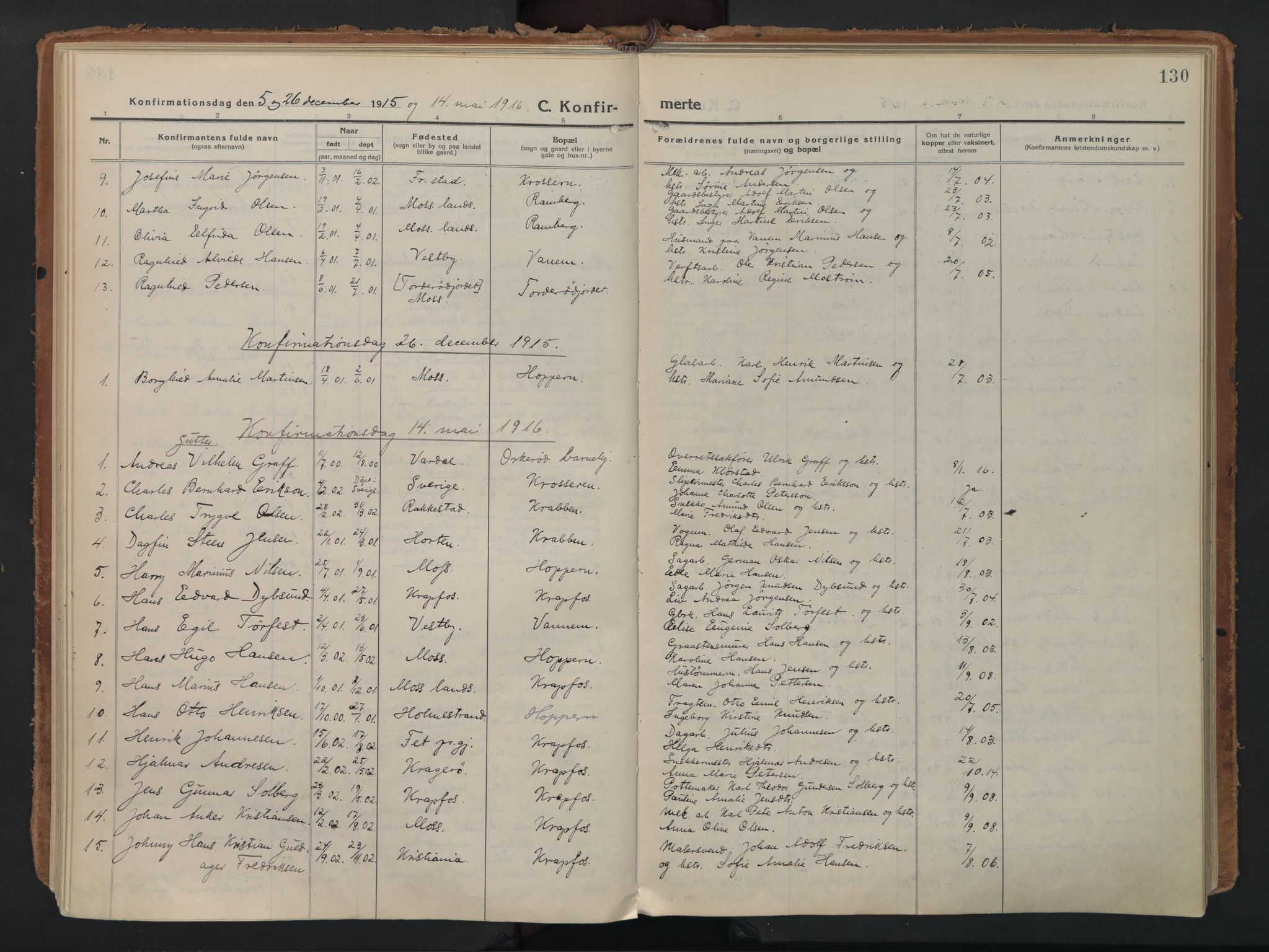 SAO, Moss prestekontor Kirkebøker, F/Fc/Fac/L0004: Ministerialbok nr. III 4, 1915-1929, s. 130