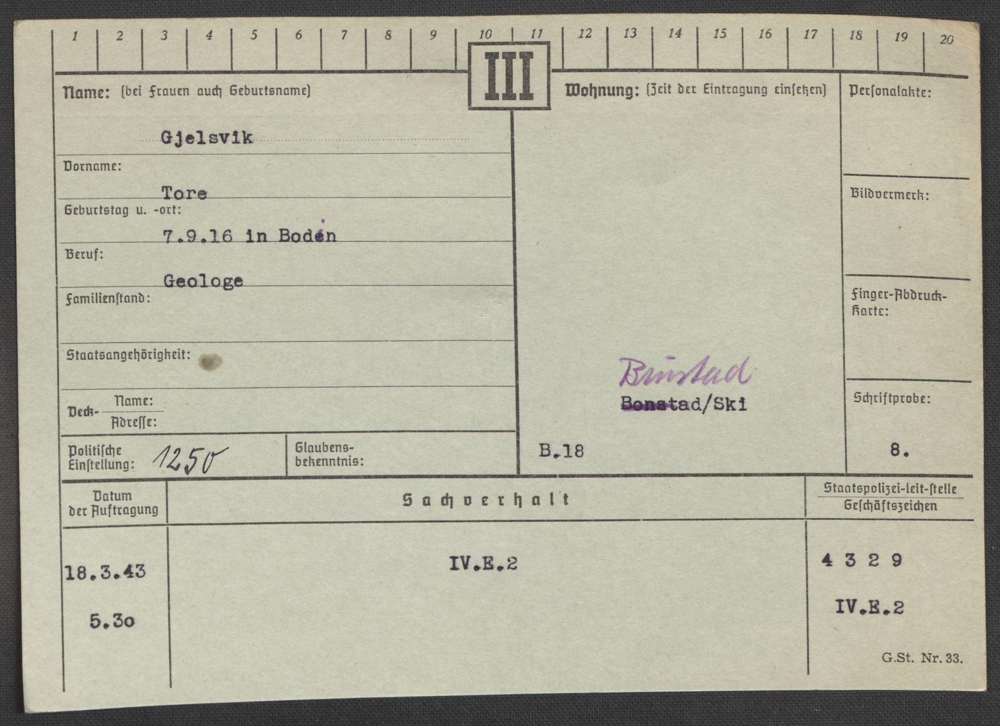 RA, Befehlshaber der Sicherheitspolizei und des SD, E/Ea/Eaa/L0003: Register over norske fanger i Møllergata 19: Eng-Hag, 1940-1945, s. 809