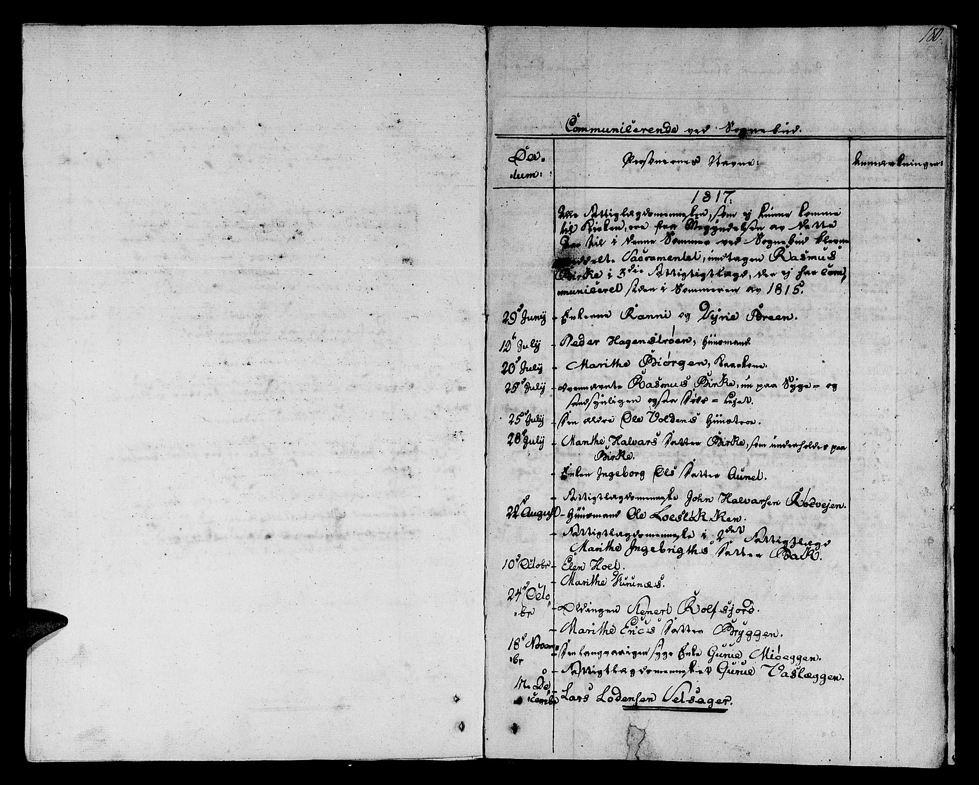 SAT, Ministerialprotokoller, klokkerbøker og fødselsregistre - Sør-Trøndelag, 678/L0894: Ministerialbok nr. 678A04, 1806-1815, s. 180