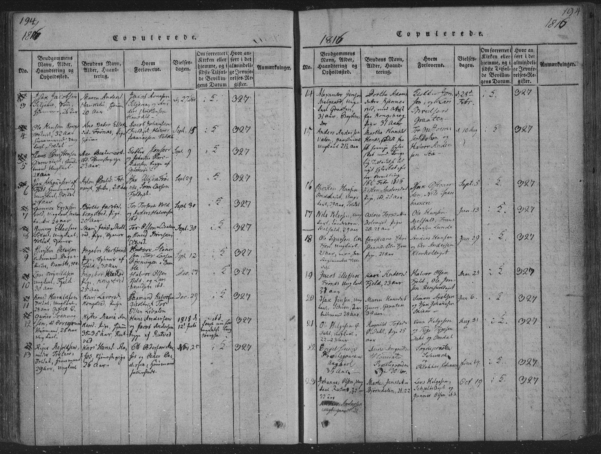SAKO, Solum kirkebøker, F/Fa/L0004: Ministerialbok nr. I 4, 1814-1833, s. 194