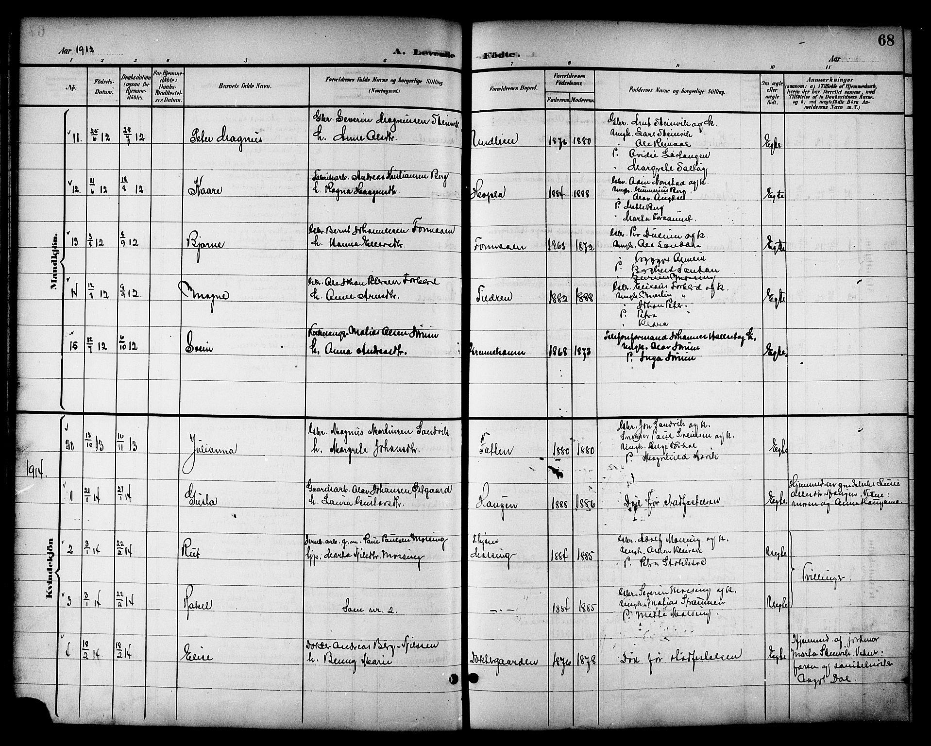 SAT, Ministerialprotokoller, klokkerbøker og fødselsregistre - Nord-Trøndelag, 714/L0135: Klokkerbok nr. 714C04, 1899-1918, s. 68