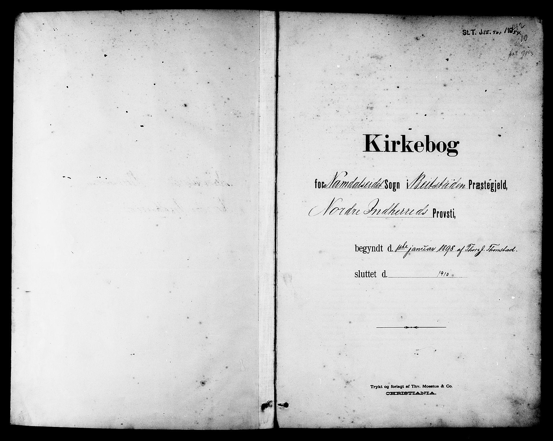 SAT, Ministerialprotokoller, klokkerbøker og fødselsregistre - Nord-Trøndelag, 742/L0412: Klokkerbok nr. 742C03, 1898-1910, s. 1