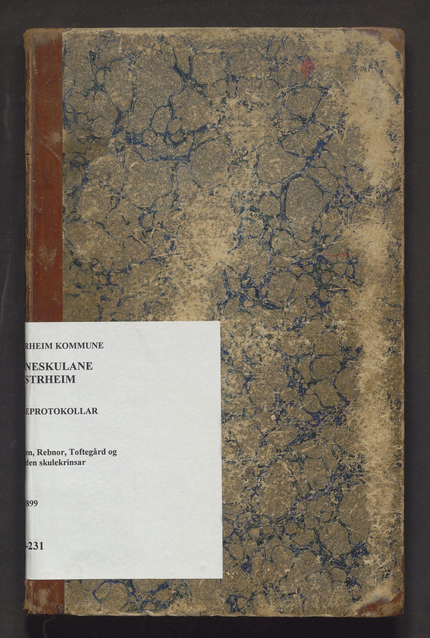 IKAH, Austrheim kommune. Barneskulane, F/Fa/L0009: Skuleprotokoll for Børilden, Rebnor, Toftegård og Øygarden, 1883-1899