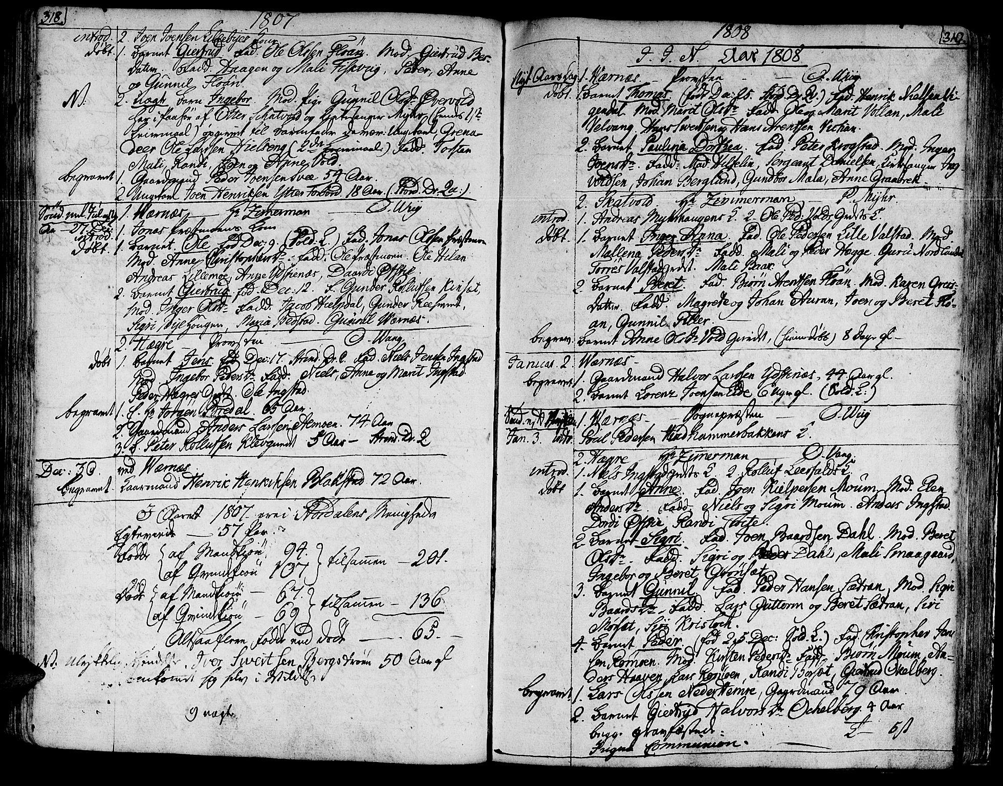 SAT, Ministerialprotokoller, klokkerbøker og fødselsregistre - Nord-Trøndelag, 709/L0060: Ministerialbok nr. 709A07, 1797-1815, s. 318-319