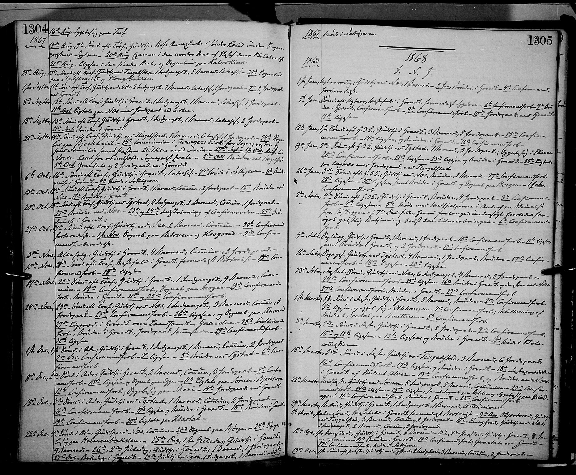 SAH, Gran prestekontor, Ministerialbok nr. 12, 1856-1874, s. 1304-1305