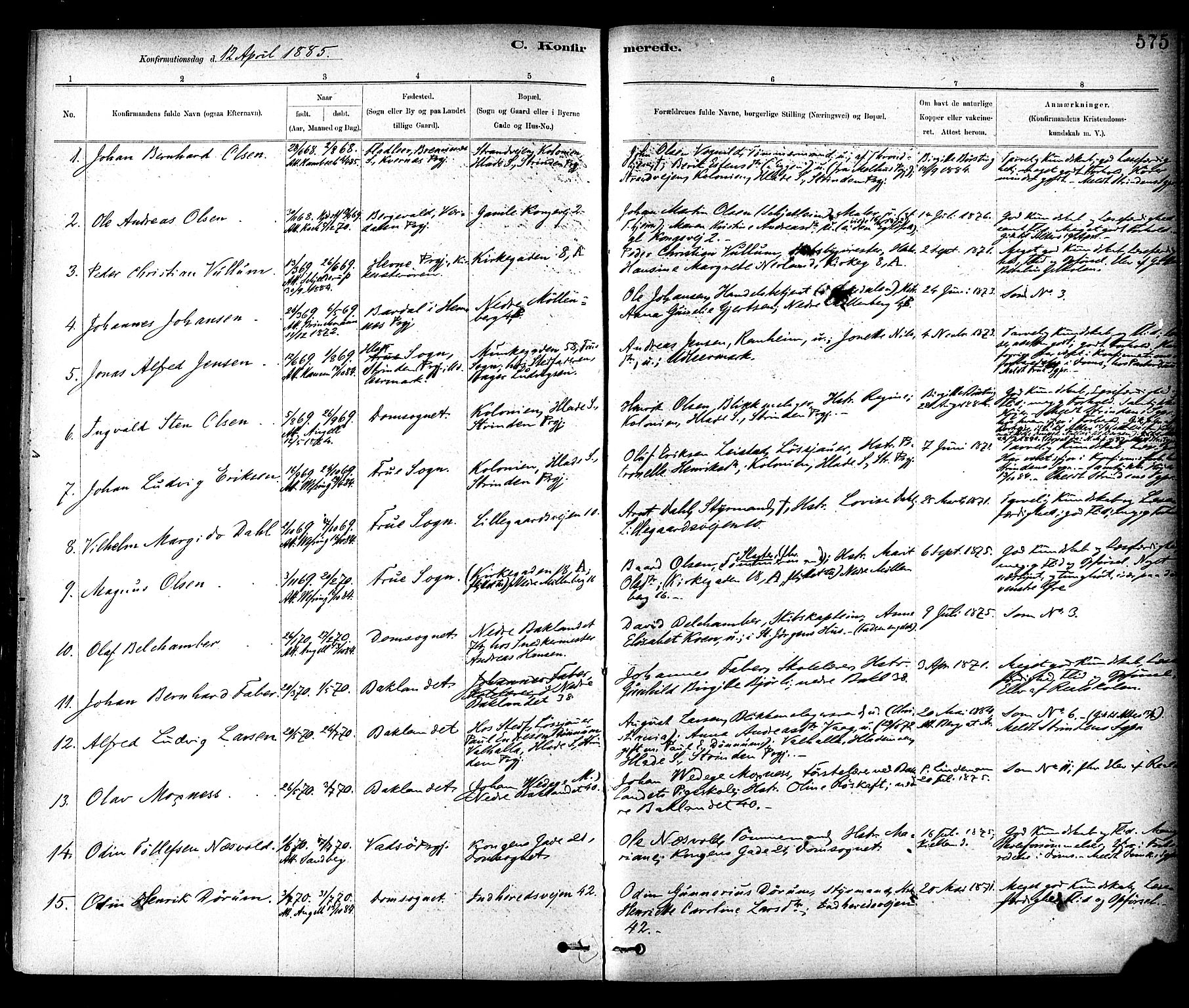 SAT, Ministerialprotokoller, klokkerbøker og fødselsregistre - Sør-Trøndelag, 604/L0188: Ministerialbok nr. 604A09, 1878-1892, s. 575