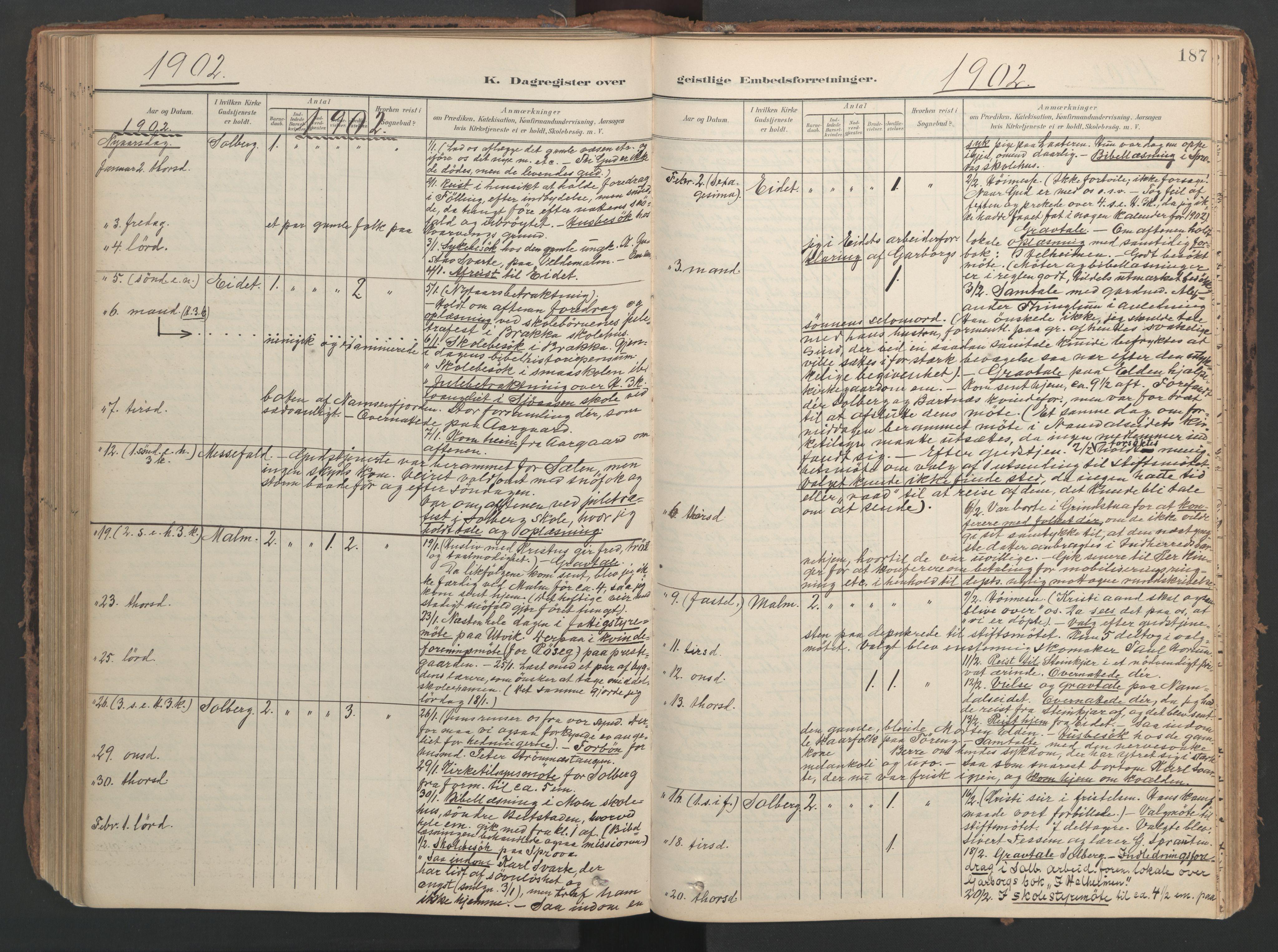 SAT, Ministerialprotokoller, klokkerbøker og fødselsregistre - Nord-Trøndelag, 741/L0397: Ministerialbok nr. 741A11, 1901-1911, s. 187