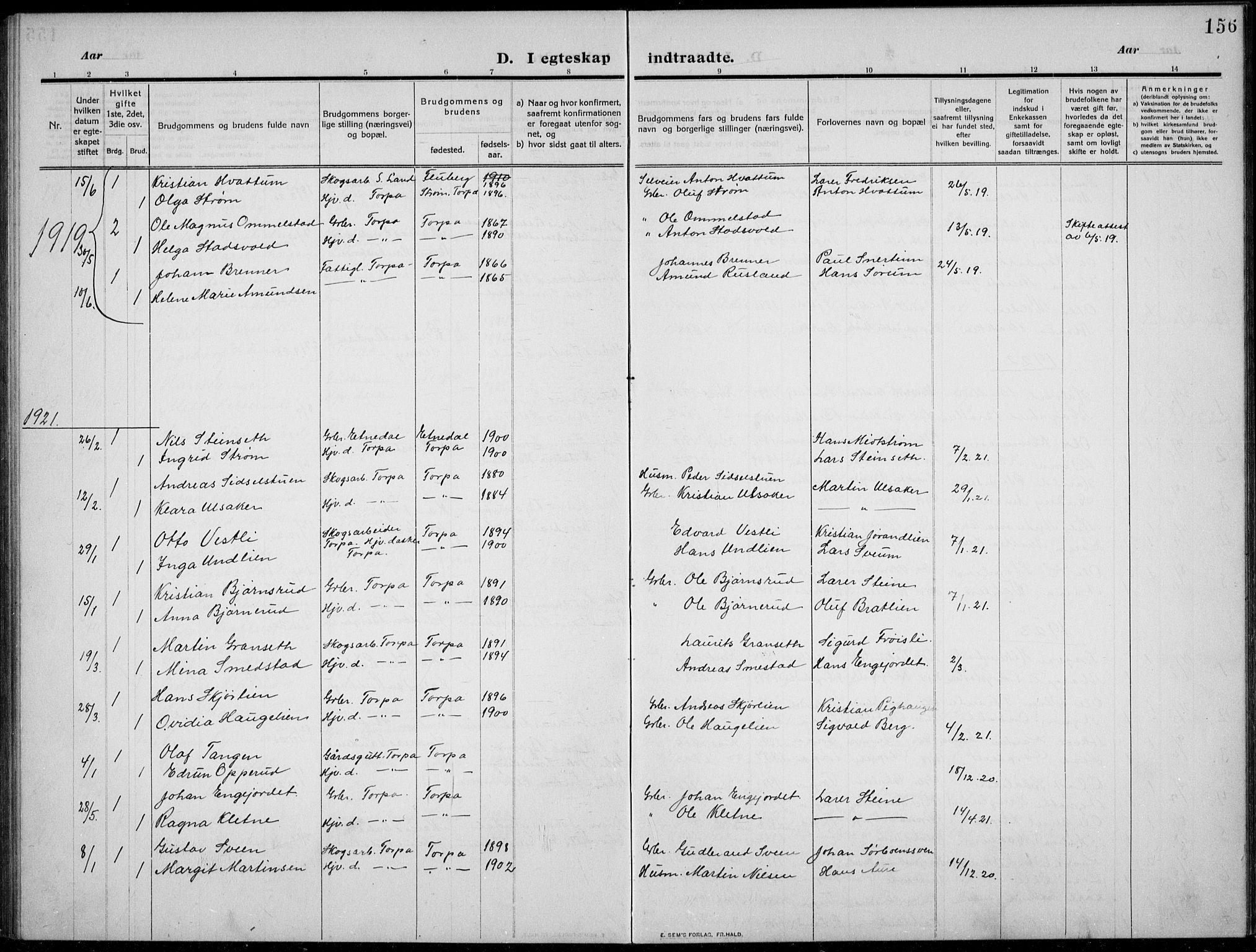 SAH, Nordre Land prestekontor, Klokkerbok nr. 2, 1909-1934, s. 156