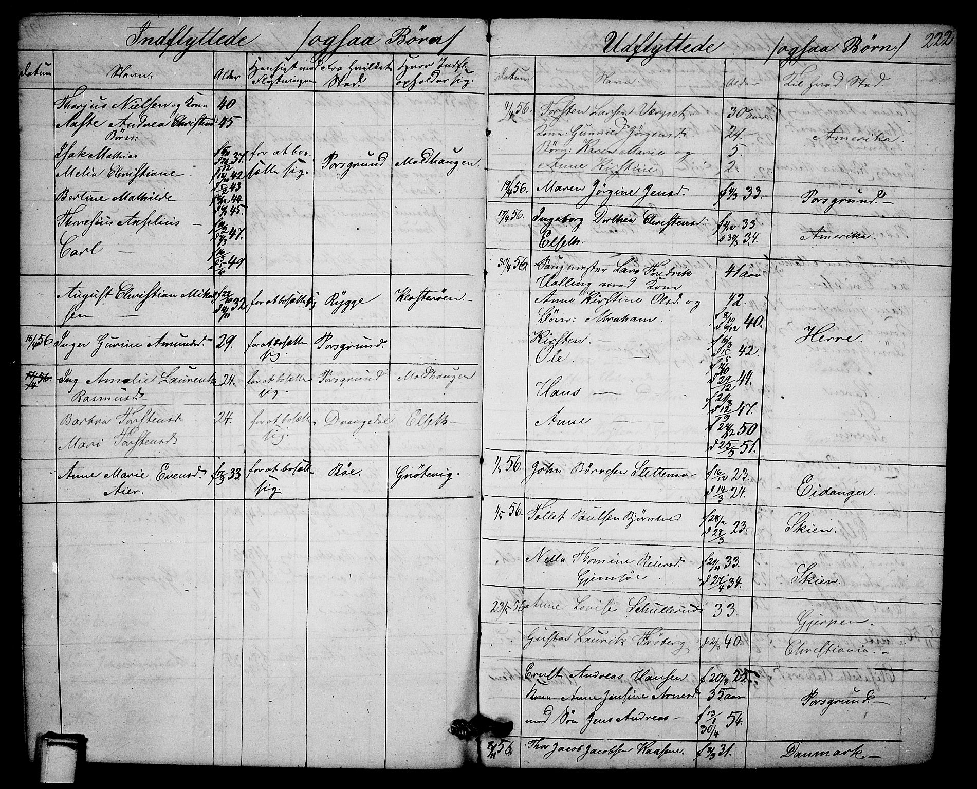 SAKO, Solum kirkebøker, G/Ga/L0003: Klokkerbok nr. I 3, 1848-1859, s. 222