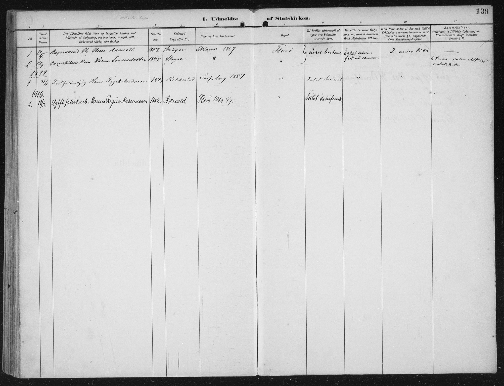 SAB, Kinn sokneprestembete, H/Haa/Haac/L0002: Ministerialbok nr. C  2, 1895-1916, s. 139