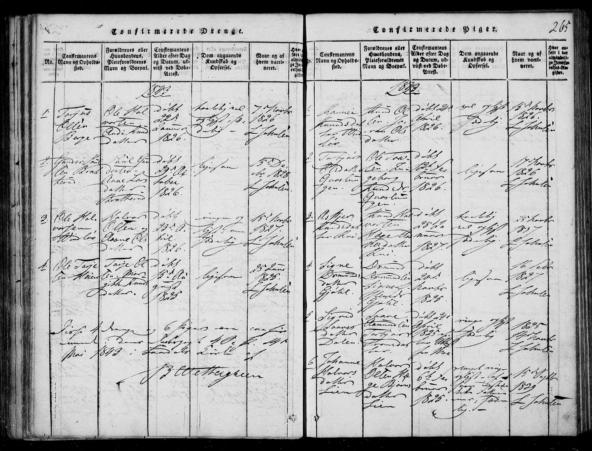 SAKO, Lårdal kirkebøker, F/Fb/L0001: Ministerialbok nr. II 1, 1815-1860, s. 265