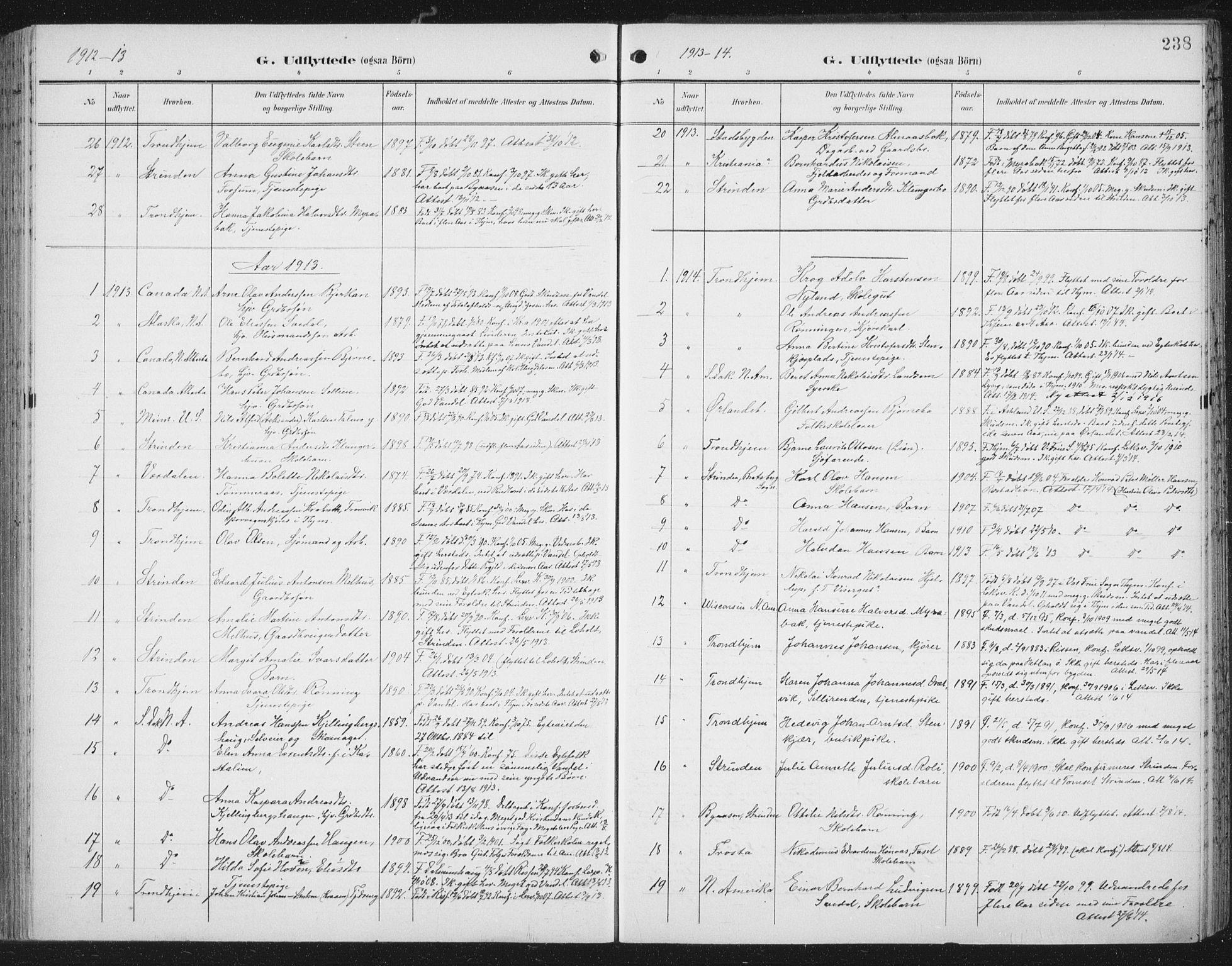 SAT, Ministerialprotokoller, klokkerbøker og fødselsregistre - Nord-Trøndelag, 701/L0011: Ministerialbok nr. 701A11, 1899-1915, s. 238