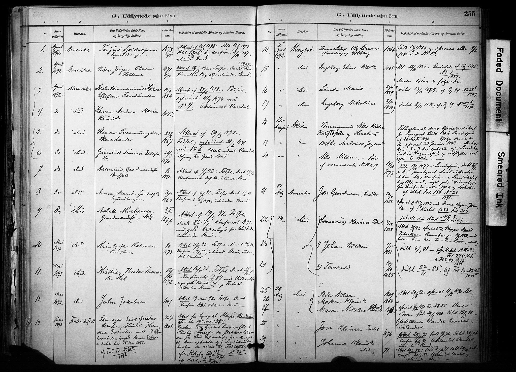 SAKO, Sannidal kirkebøker, F/Fa/L0015: Ministerialbok nr. 15, 1884-1899, s. 255