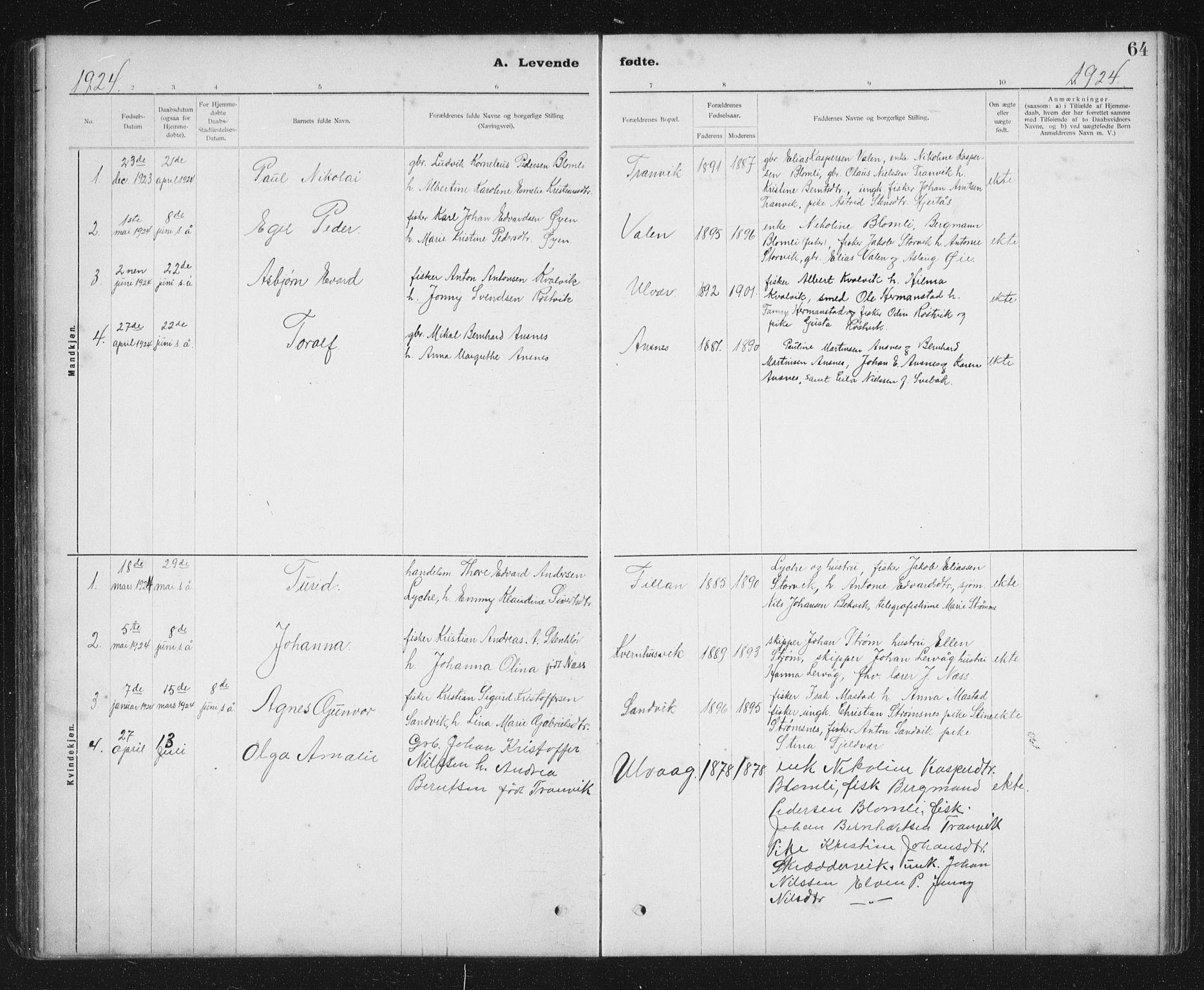 SAT, Ministerialprotokoller, klokkerbøker og fødselsregistre - Sør-Trøndelag, 637/L0563: Klokkerbok nr. 637C04, 1899-1940, s. 64