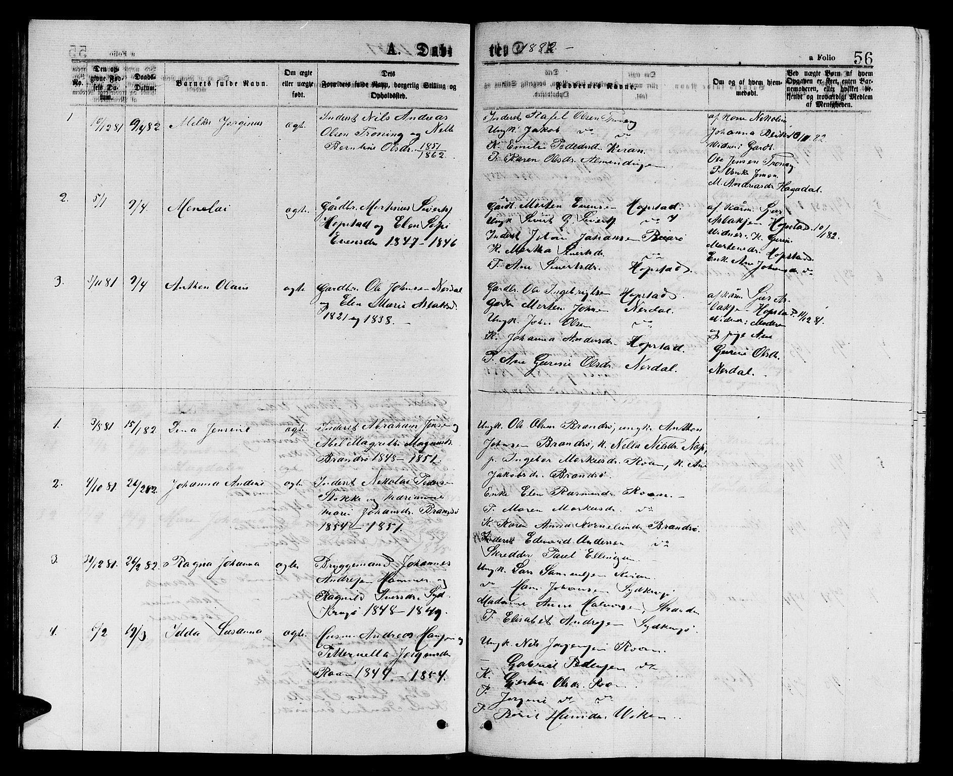 SAT, Ministerialprotokoller, klokkerbøker og fødselsregistre - Sør-Trøndelag, 657/L0715: Klokkerbok nr. 657C02, 1873-1888, s. 56
