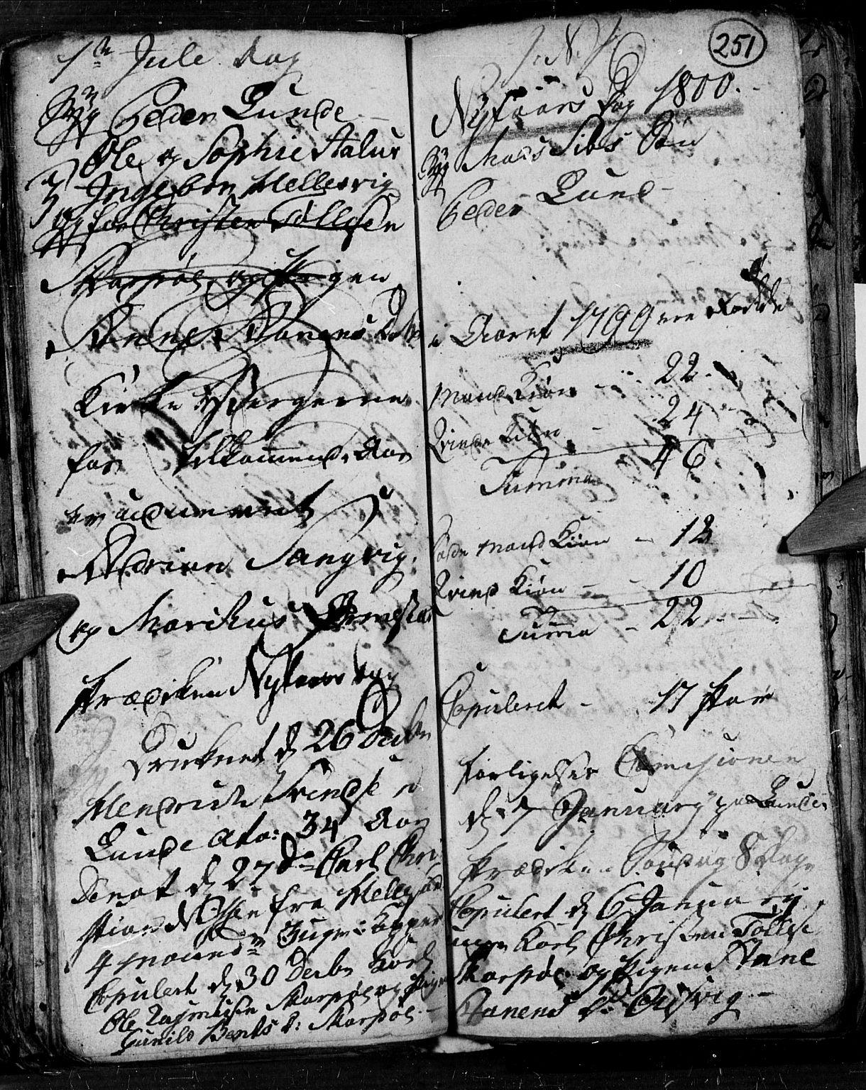 SAK, Søgne sokneprestkontor, F/Fb/Fbb/L0001: Klokkerbok nr. B 1, 1779-1802, s. 251