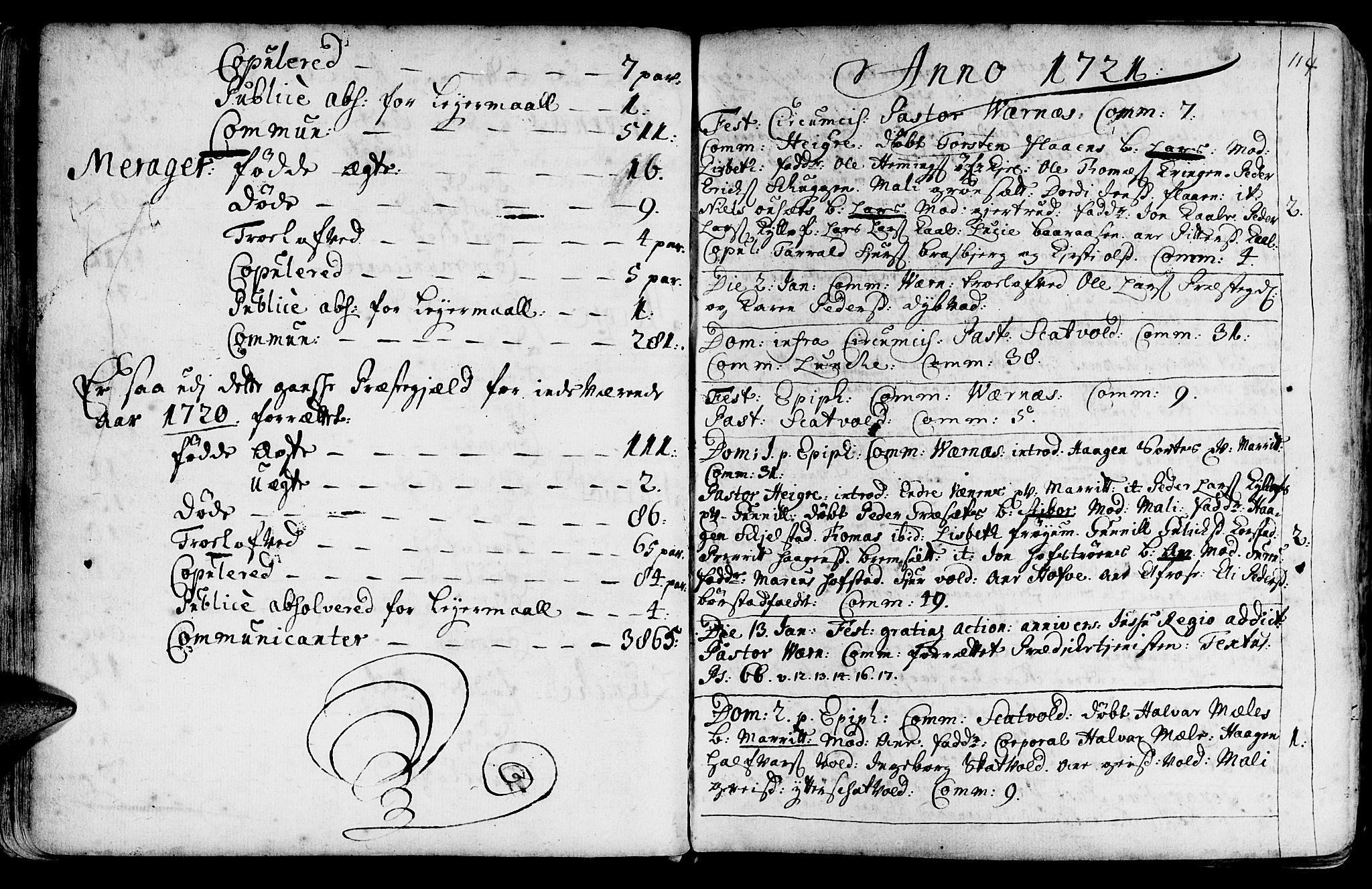 SAT, Ministerialprotokoller, klokkerbøker og fødselsregistre - Nord-Trøndelag, 709/L0054: Ministerialbok nr. 709A02, 1714-1738, s. 113-114