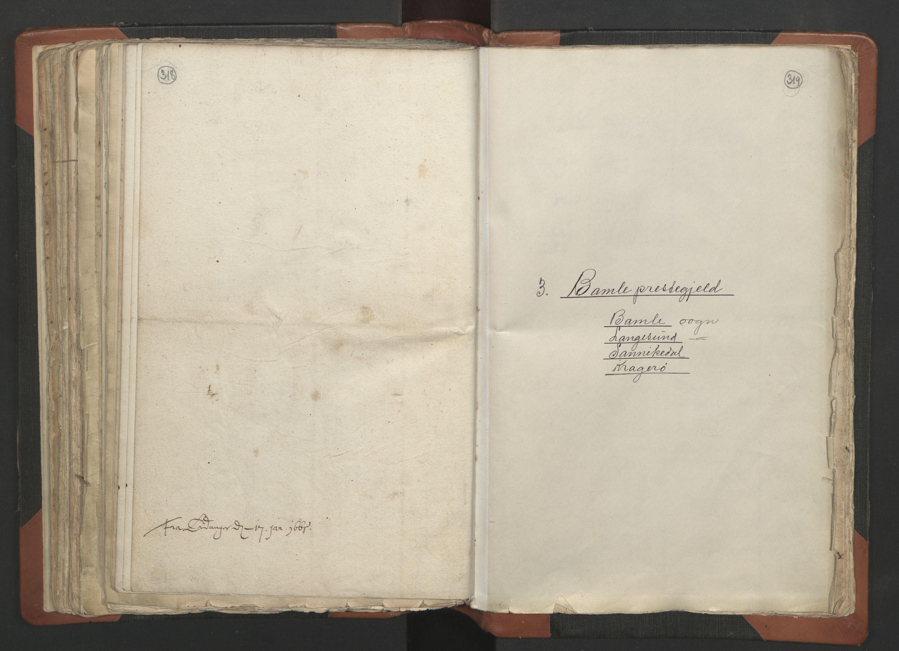 RA, Sogneprestenes manntall 1664-1666, nr. 12: Øvre Telemark prosti, Nedre Telemark prosti og Bamble prosti, 1664-1666, s. 318-319