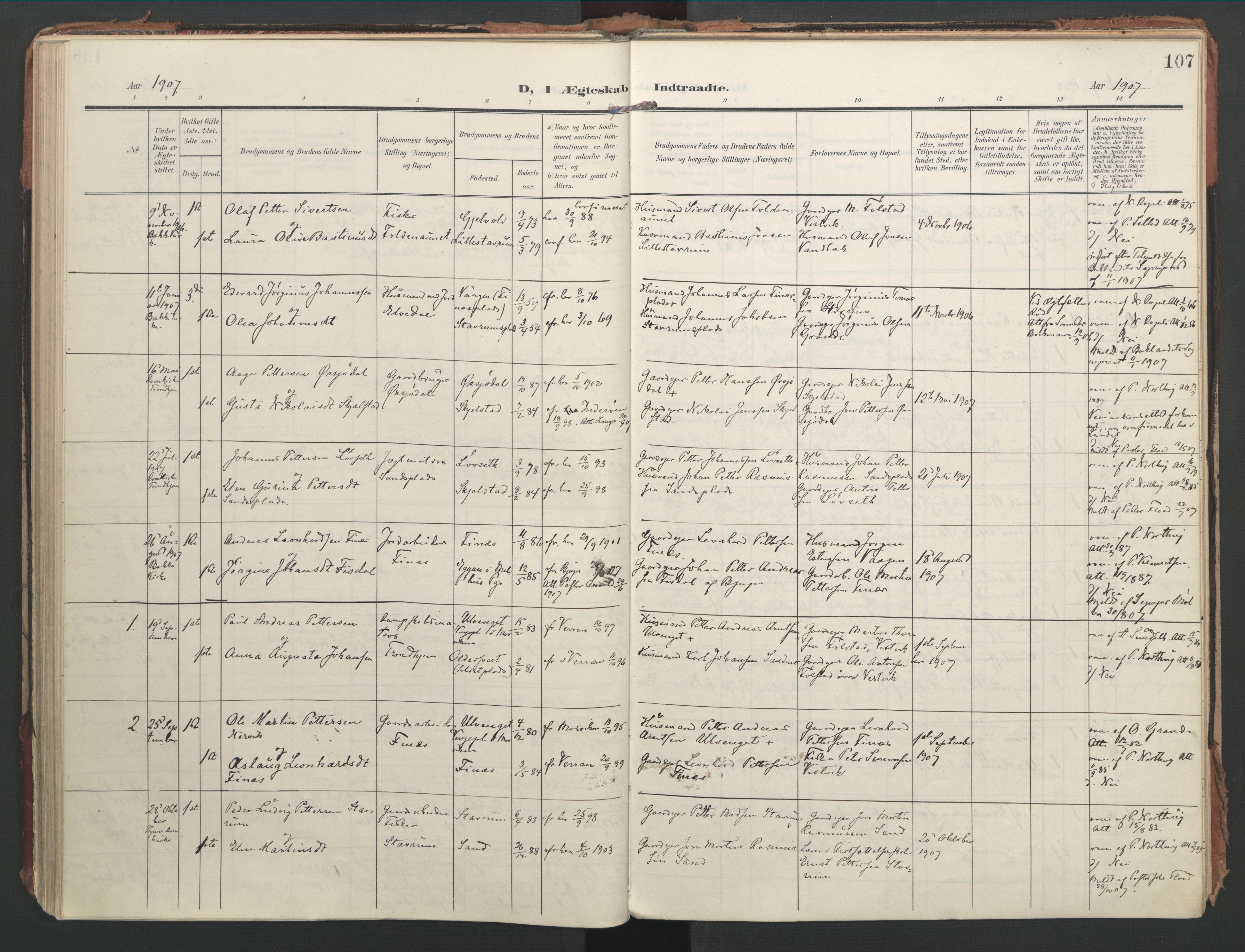 SAT, Ministerialprotokoller, klokkerbøker og fødselsregistre - Nord-Trøndelag, 744/L0421: Ministerialbok nr. 744A05, 1905-1930, s. 107