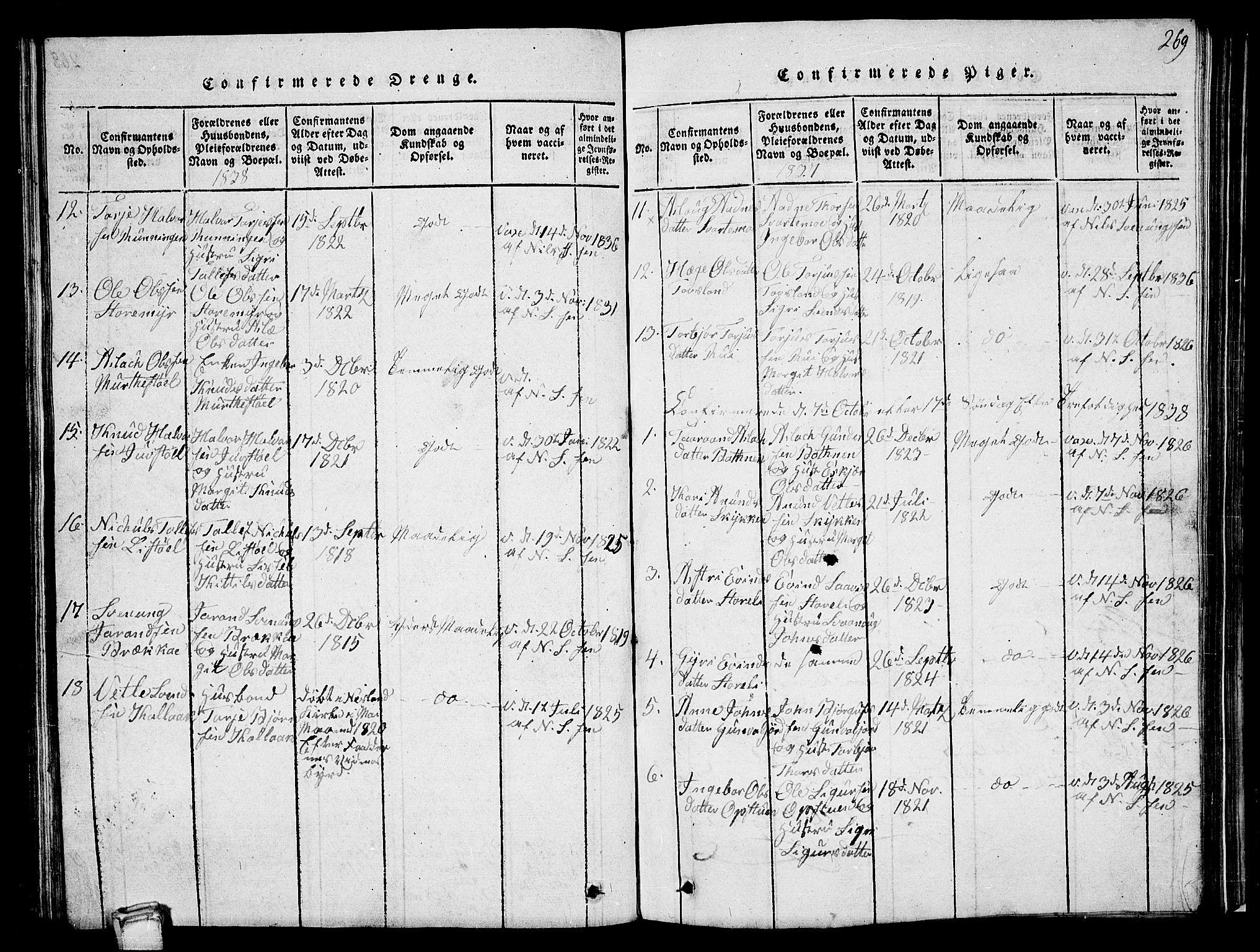 SAKO, Vinje kirkebøker, G/Ga/L0001: Klokkerbok nr. I 1, 1814-1843, s. 269