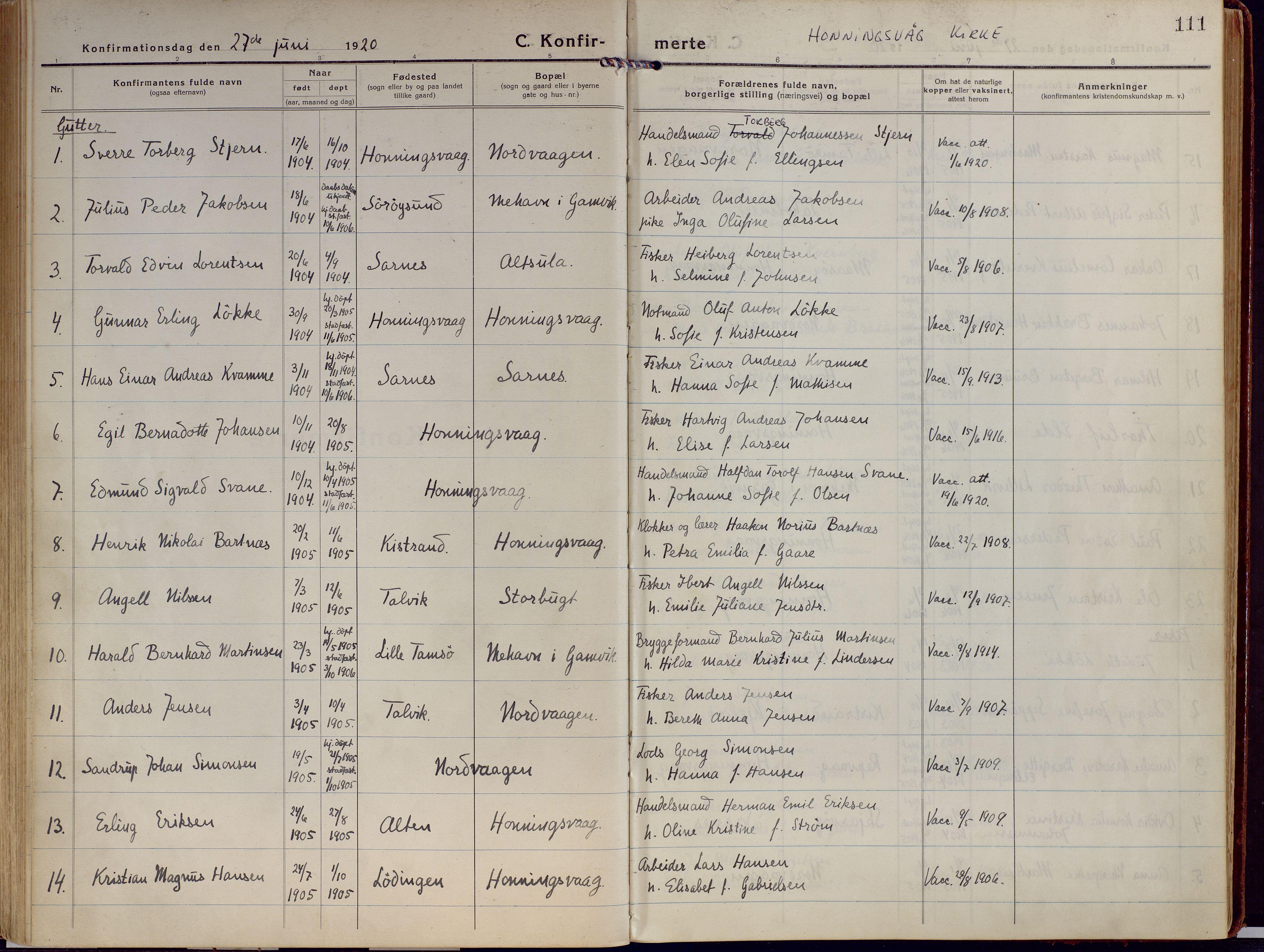SATØ, Kjelvik/Nordkapp sokneprestkontor, H/Ha/L0002kirke: Ministerialbok nr. 2, 1920-1929, s. 111