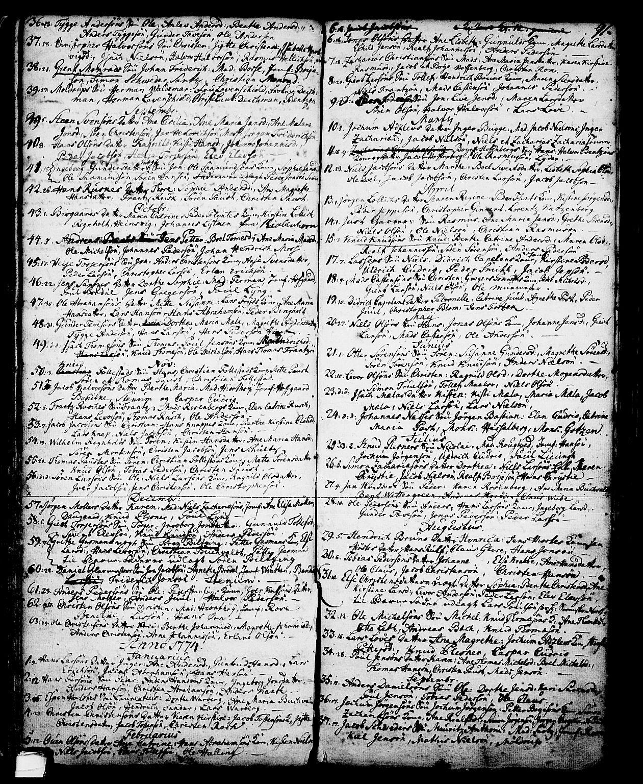 SAKO, Skien kirkebøker, G/Ga/L0001: Klokkerbok nr. 1, 1756-1791, s. 91
