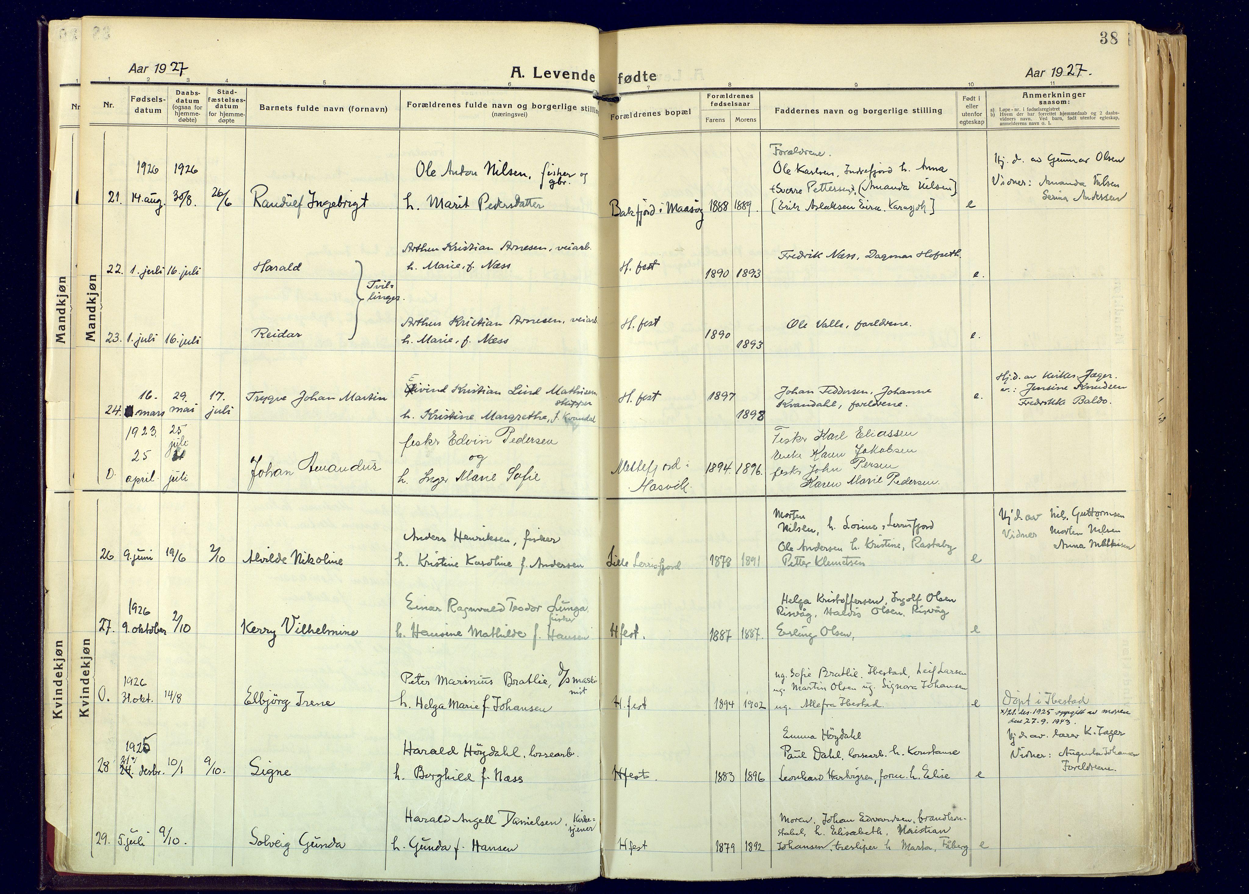 SATØ, Hammerfest sokneprestembete, Ministerialbok nr. 17, 1923-1933, s. 38
