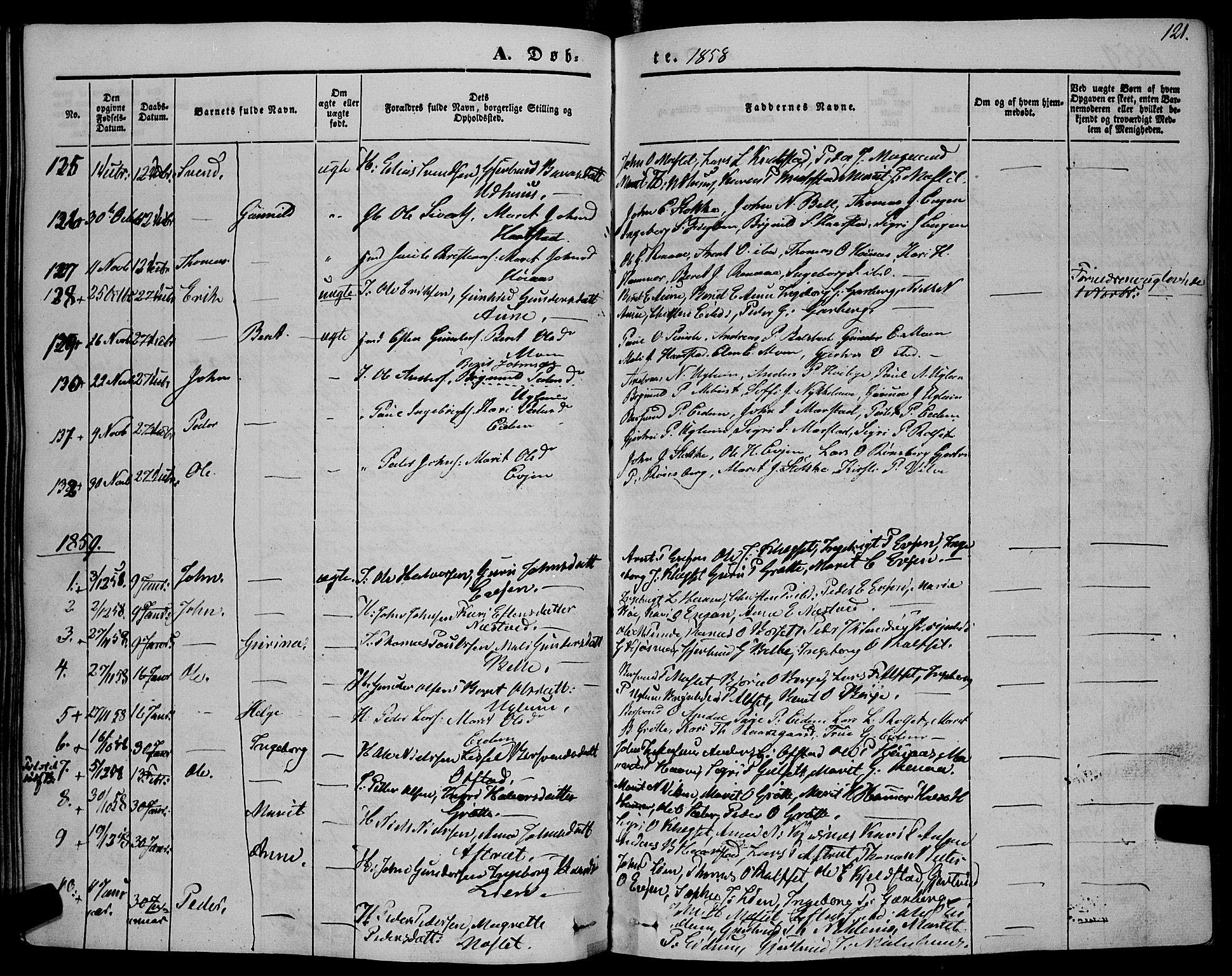 SAT, Ministerialprotokoller, klokkerbøker og fødselsregistre - Sør-Trøndelag, 695/L1145: Ministerialbok nr. 695A06 /1, 1843-1859, s. 121