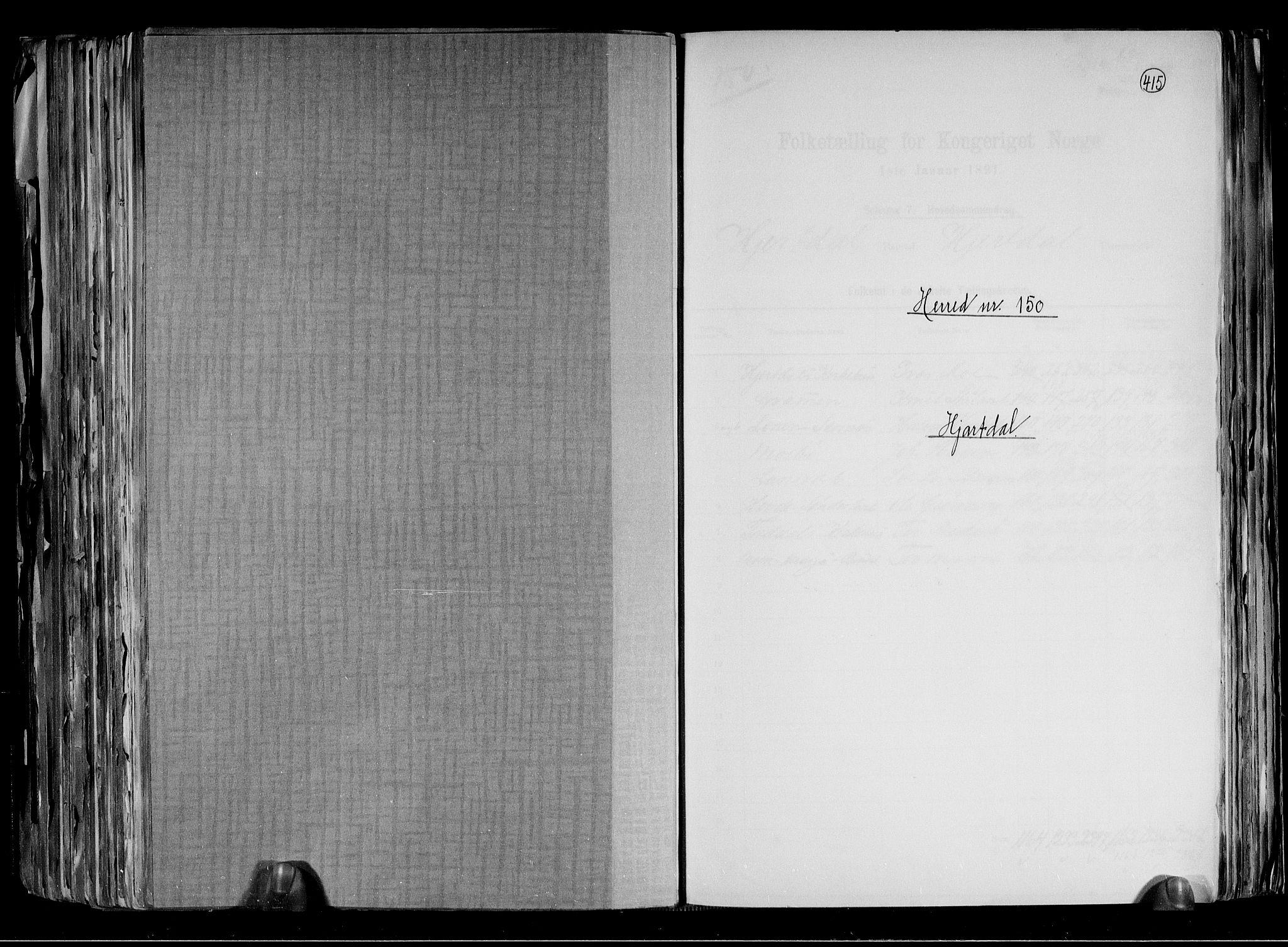 RA, Folketelling 1891 for 0827 Hjartdal herred, 1891, s. 1
