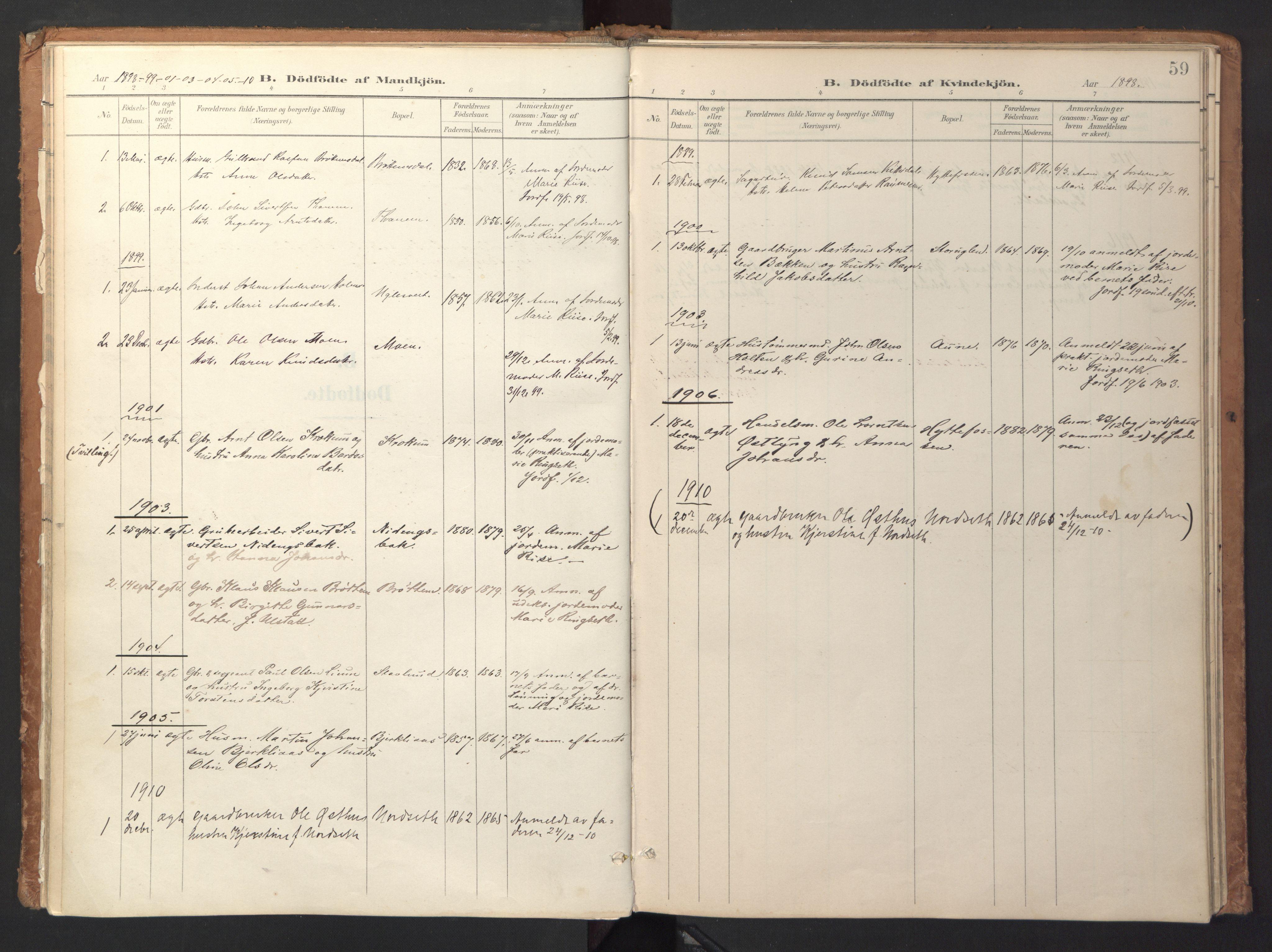SAT, Ministerialprotokoller, klokkerbøker og fødselsregistre - Sør-Trøndelag, 618/L0448: Ministerialbok nr. 618A11, 1898-1916, s. 59