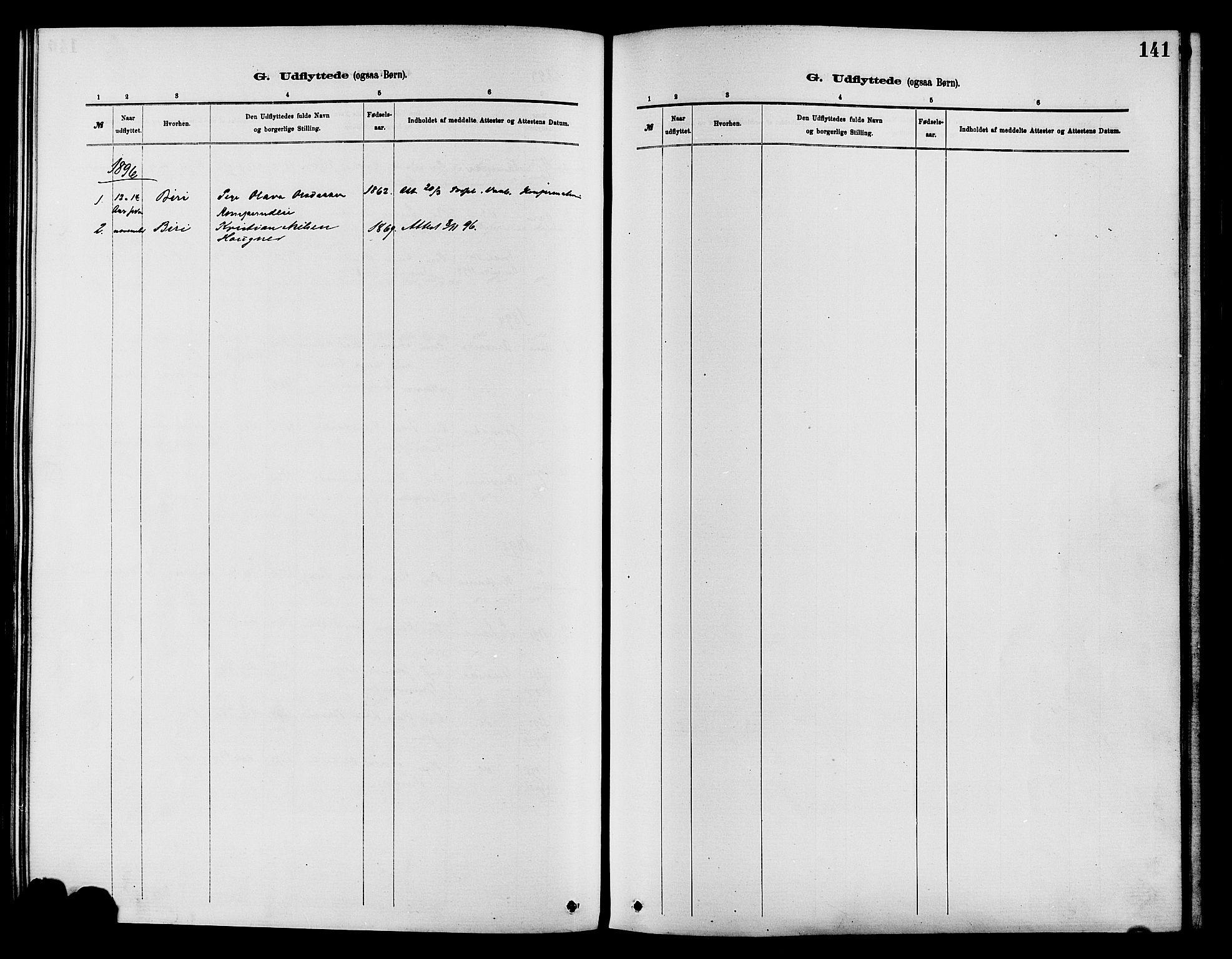 SAH, Nordre Land prestekontor, Ministerialbok nr. 3, 1882-1896, s. 141