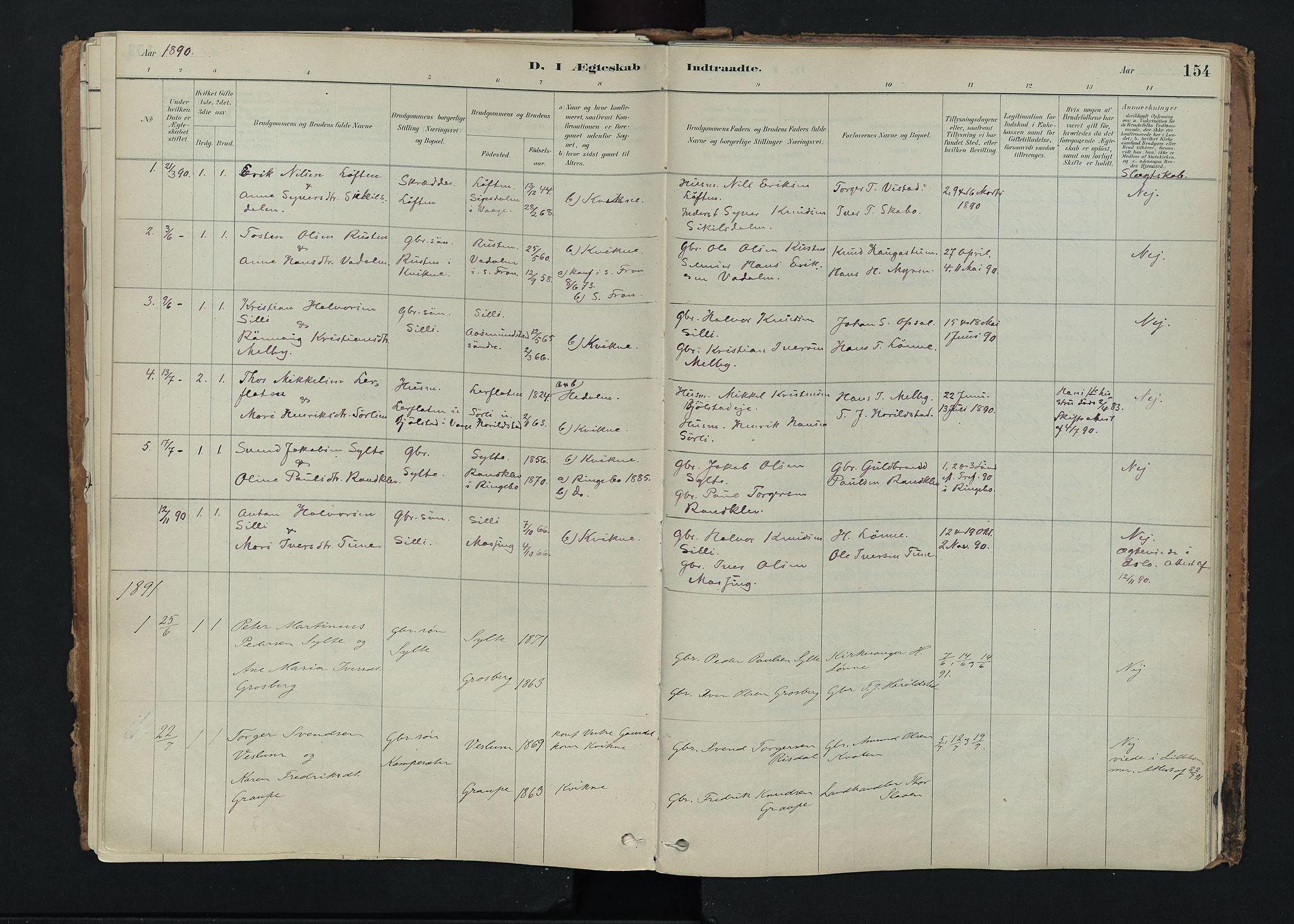 SAH, Nord-Fron prestekontor, Ministerialbok nr. 5, 1884-1914, s. 154