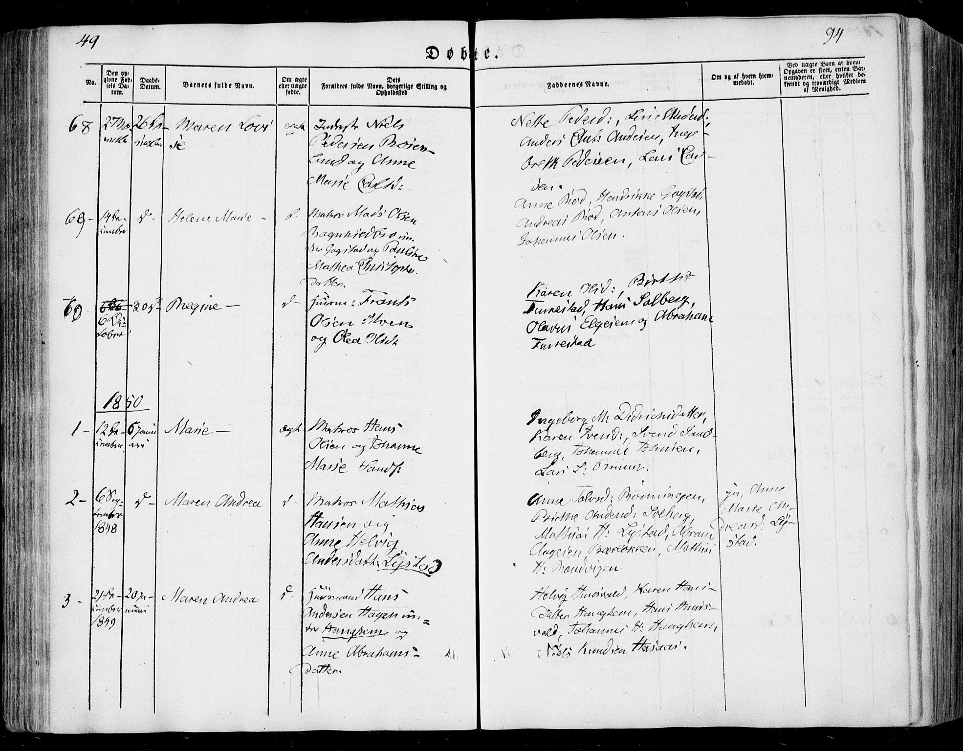 SAKO, Sandar kirkebøker, F/Fa/L0006: Ministerialbok nr. 6, 1847-1860, s. 94