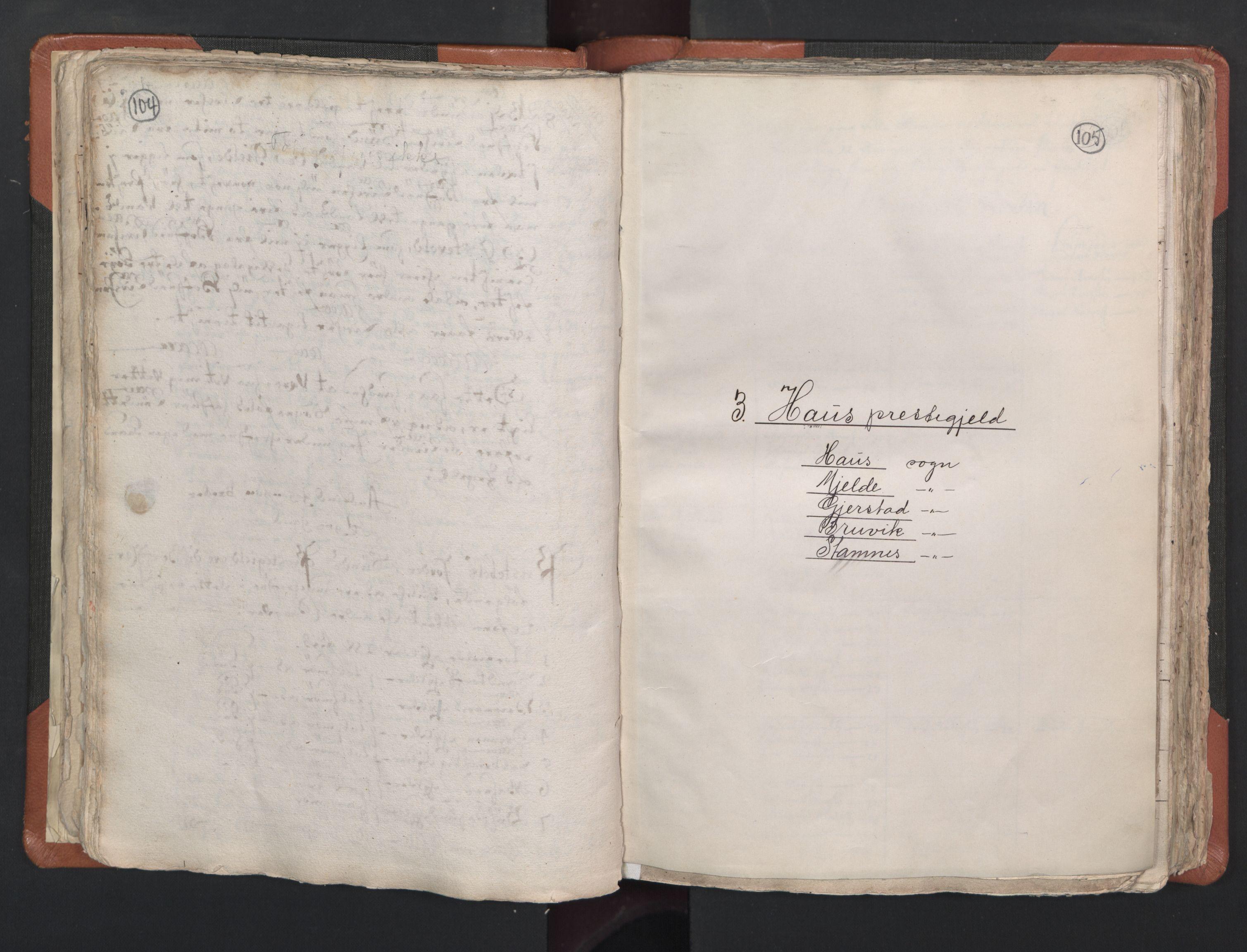 RA, Sogneprestenes manntall 1664-1666, nr. 22: Nordhordland prosti, 1664-1666, s. 104-105