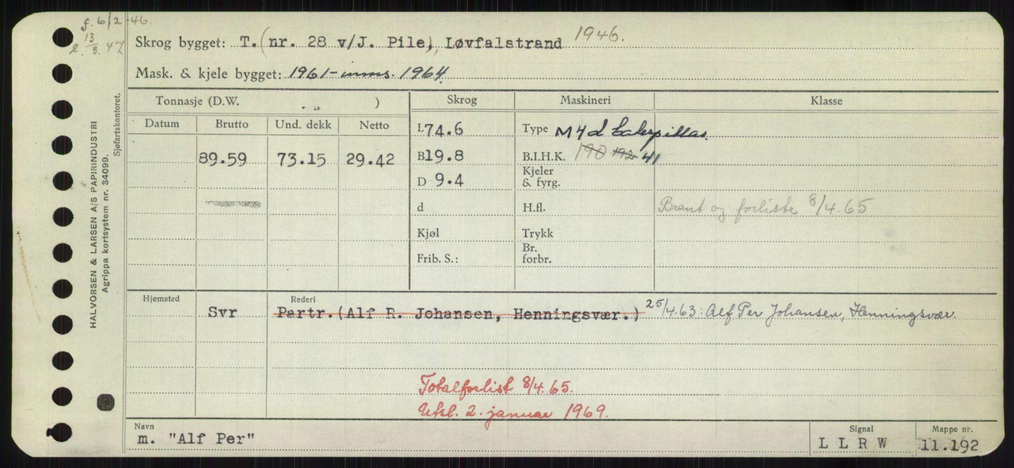 RA, Sjøfartsdirektoratet med forløpere, Skipsmålingen, H/Hd/L0001: Fartøy, A-Anv, s. 313