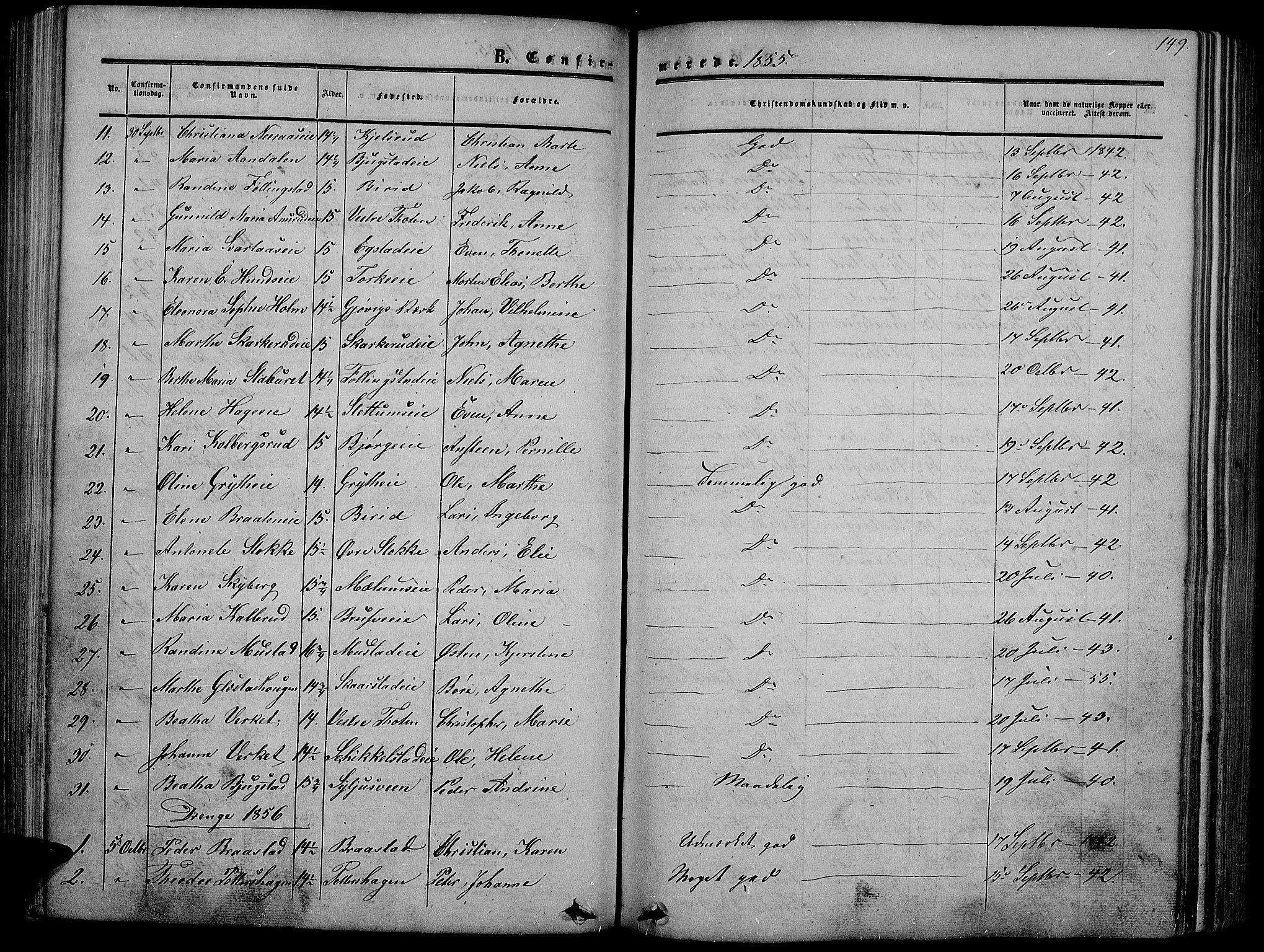 SAH, Vardal prestekontor, H/Ha/Hab/L0005: Klokkerbok nr. 5, 1854-1868, s. 149