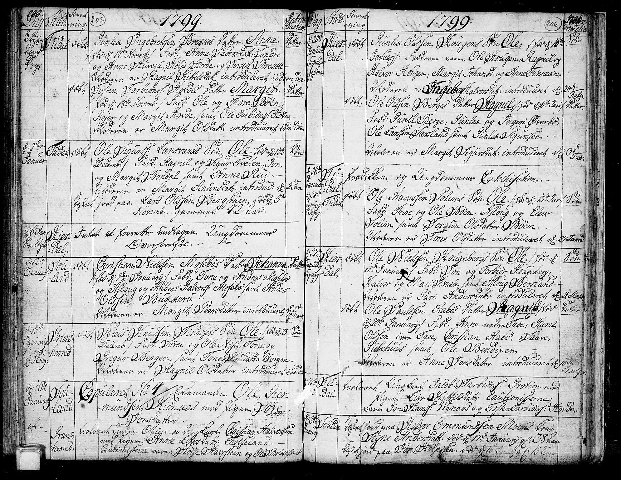 SAKO, Hjartdal kirkebøker, F/Fa/L0005: Ministerialbok nr. I 5, 1776-1801, s. 205-206