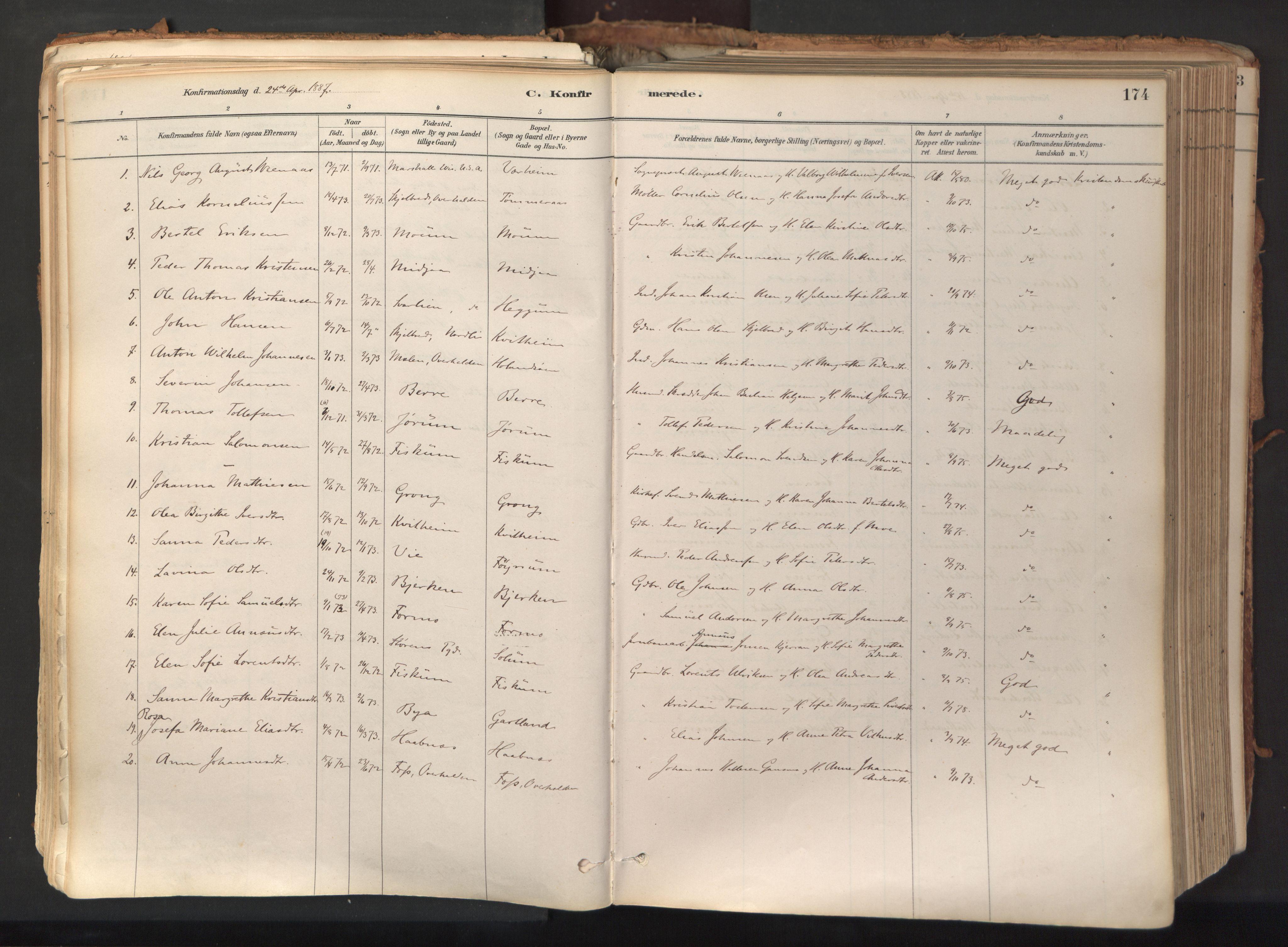 SAT, Ministerialprotokoller, klokkerbøker og fødselsregistre - Nord-Trøndelag, 758/L0519: Ministerialbok nr. 758A04, 1880-1926, s. 174