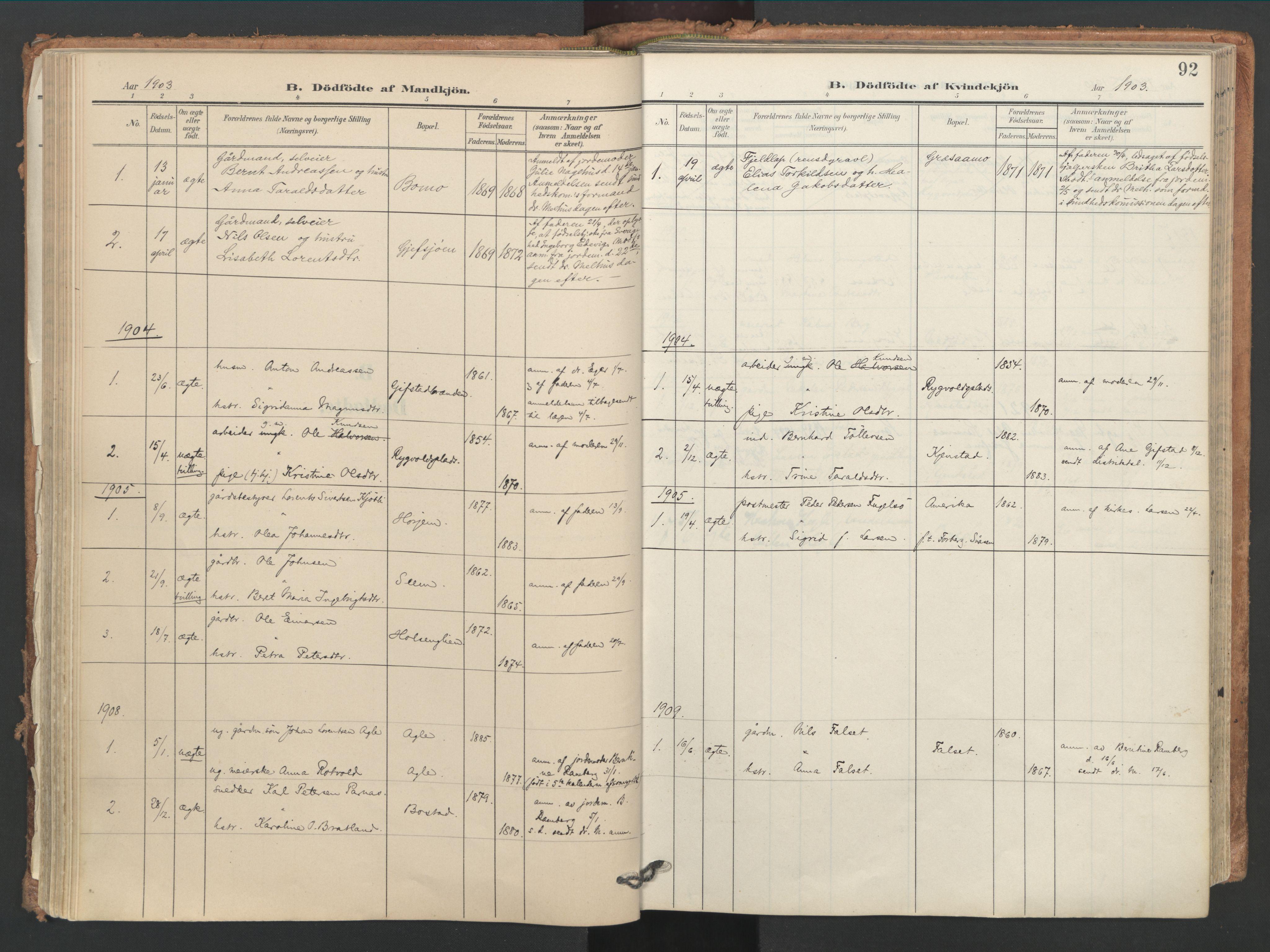 SAT, Ministerialprotokoller, klokkerbøker og fødselsregistre - Nord-Trøndelag, 749/L0477: Ministerialbok nr. 749A11, 1902-1927, s. 92