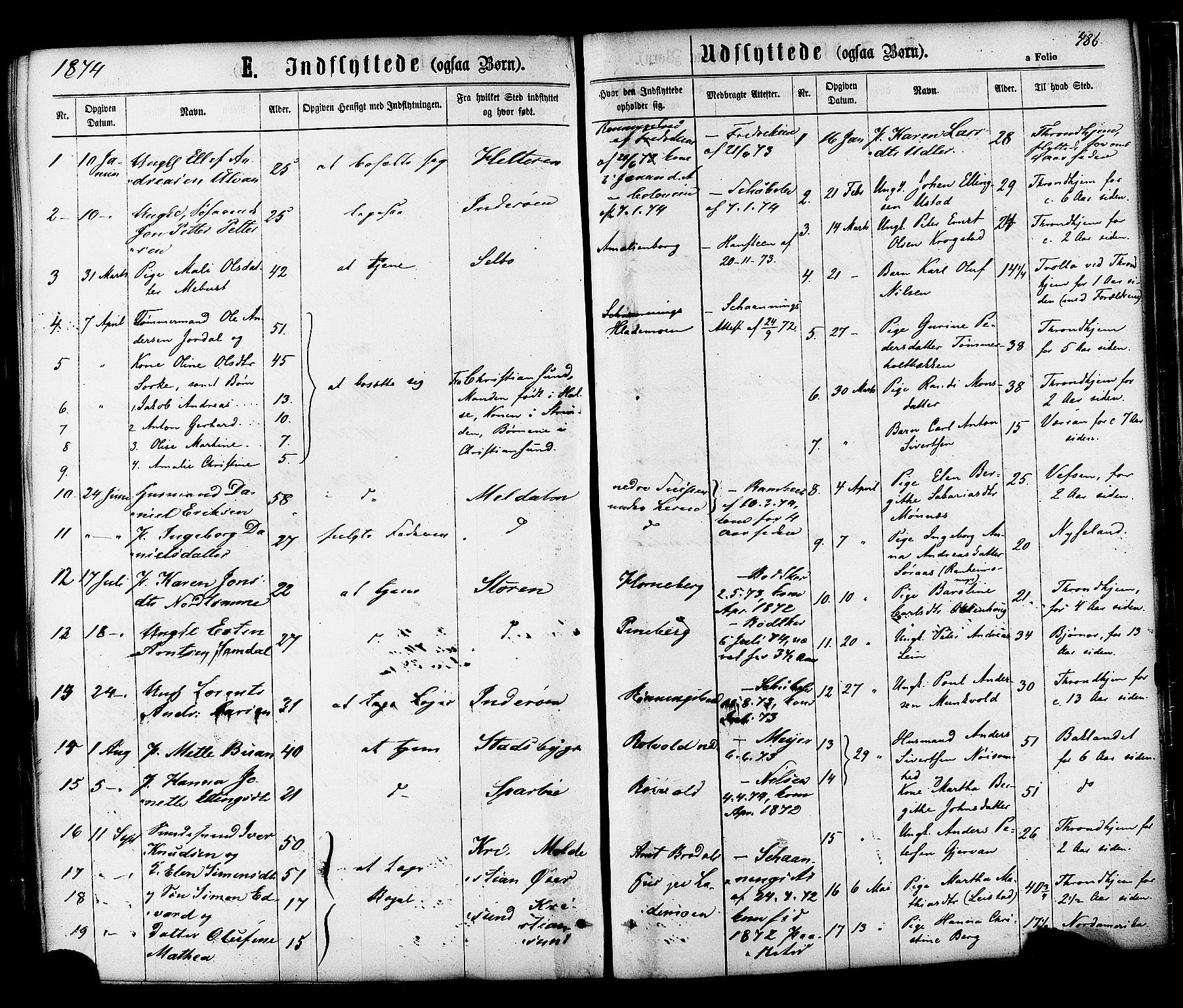 SAT, Ministerialprotokoller, klokkerbøker og fødselsregistre - Sør-Trøndelag, 606/L0293: Ministerialbok nr. 606A08, 1866-1877, s. 486