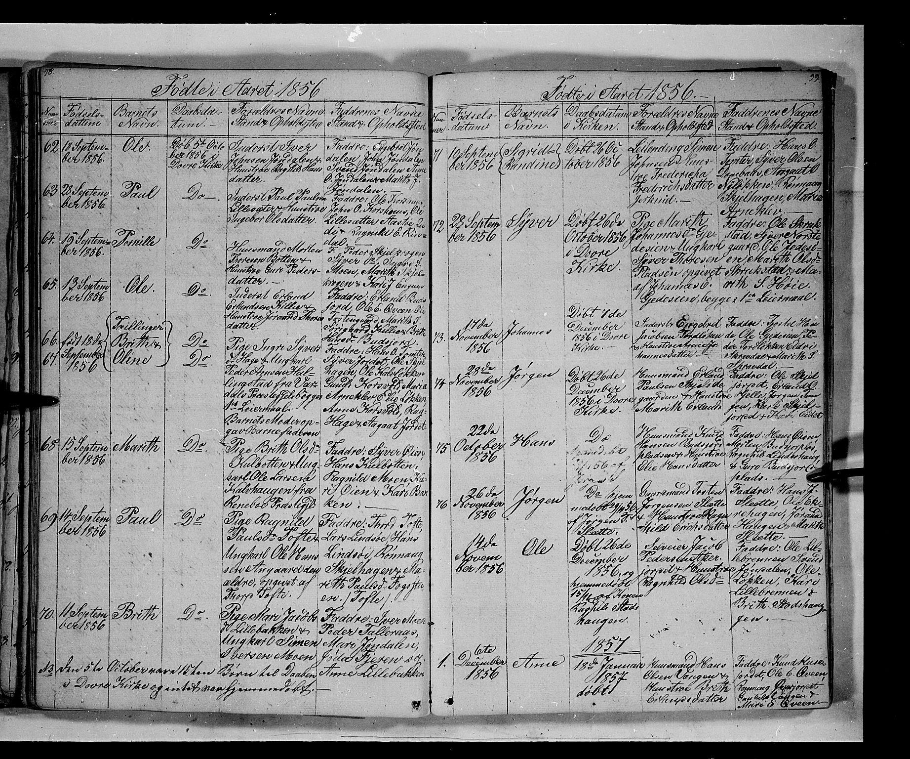 SAH, Lesja prestekontor, Klokkerbok nr. 3, 1842-1862, s. 98-99
