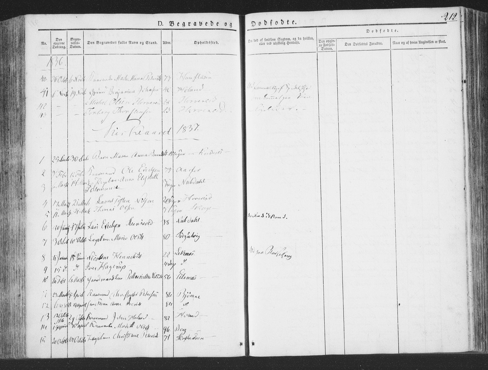 SAT, Ministerialprotokoller, klokkerbøker og fødselsregistre - Nord-Trøndelag, 780/L0639: Ministerialbok nr. 780A04, 1830-1844, s. 212