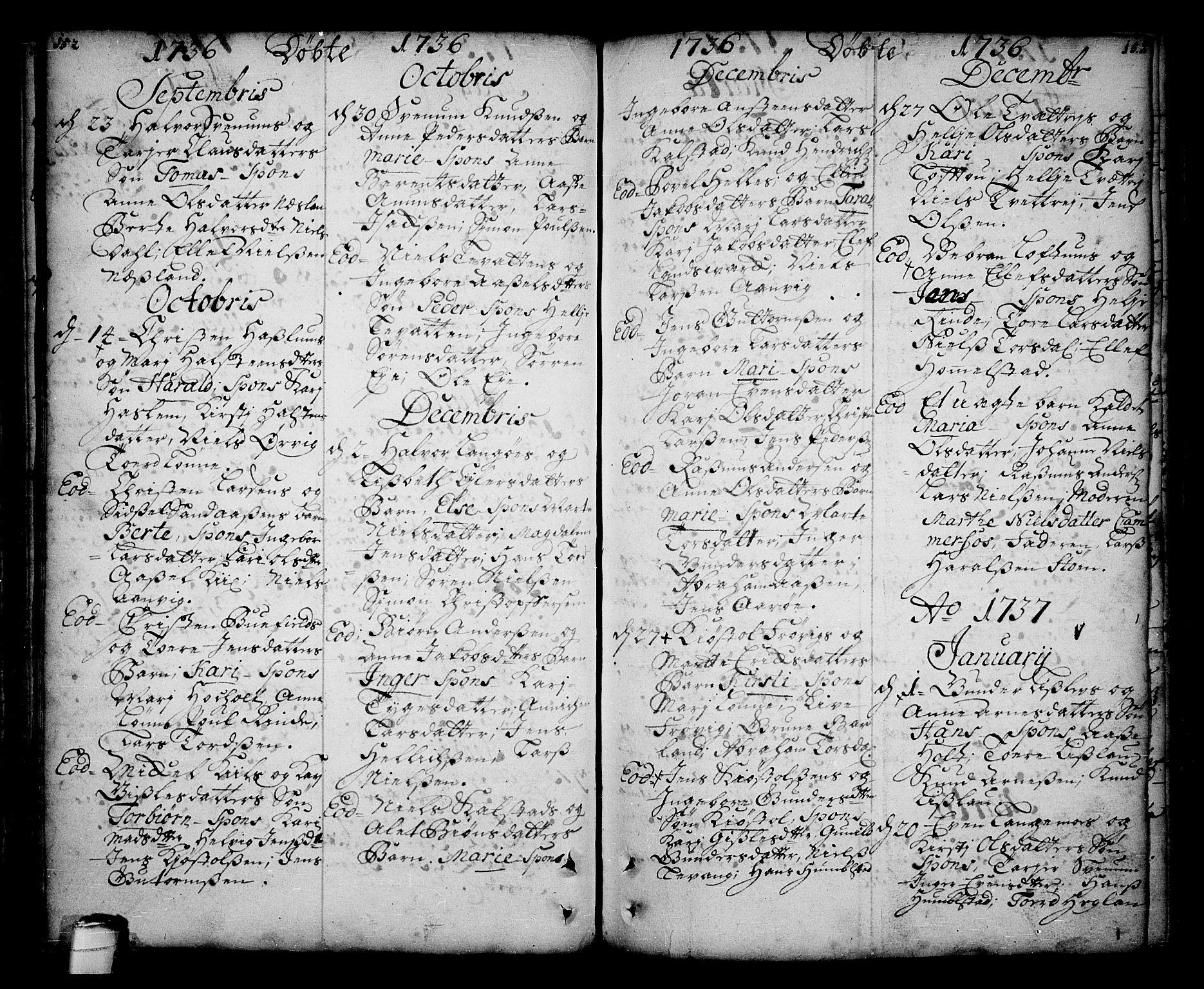 SAKO, Sannidal kirkebøker, F/Fa/L0001: Ministerialbok nr. 1, 1702-1766, s. 152-153