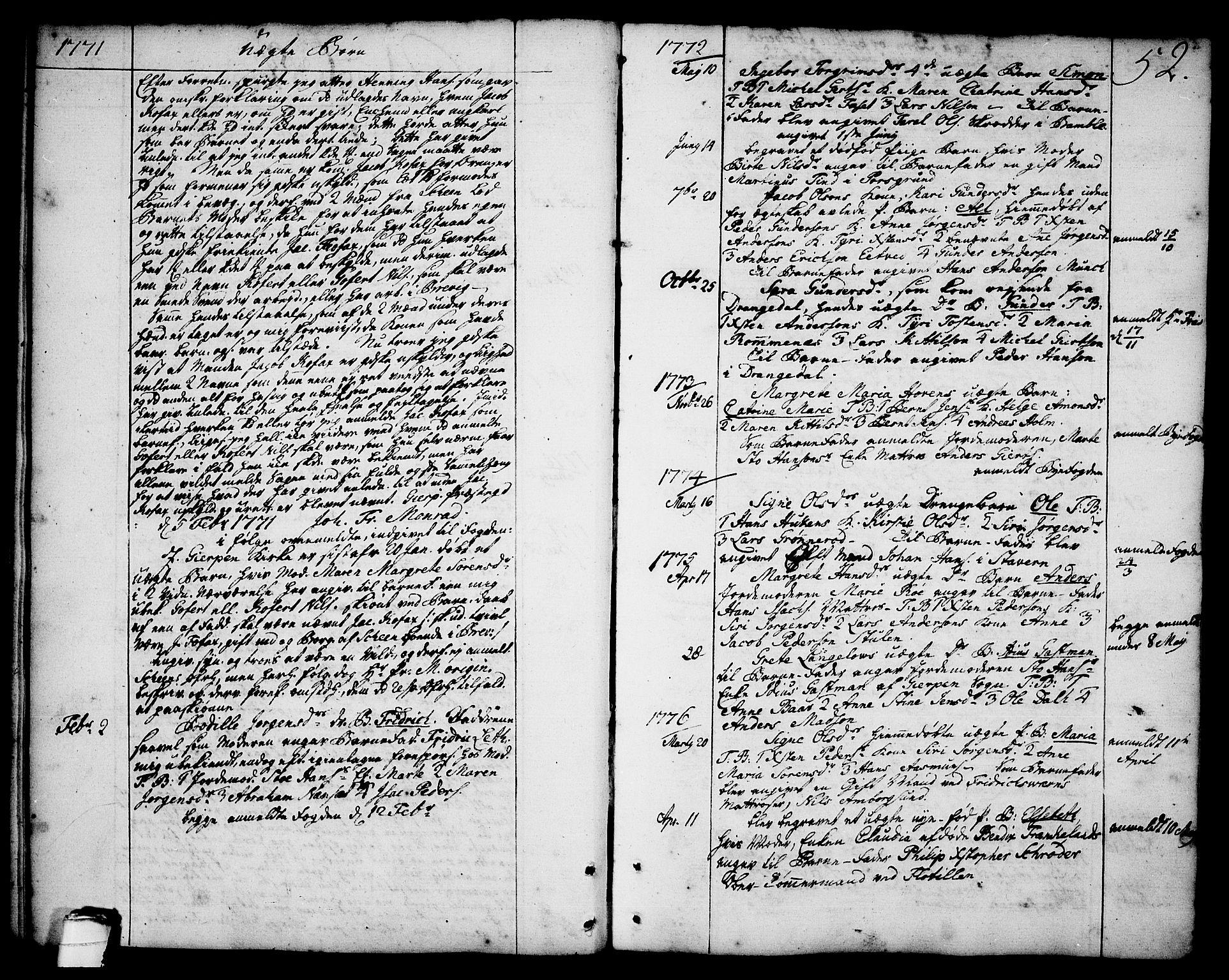 SAKO, Brevik kirkebøker, F/Fa/L0003: Ministerialbok nr. 3, 1764-1814, s. 52