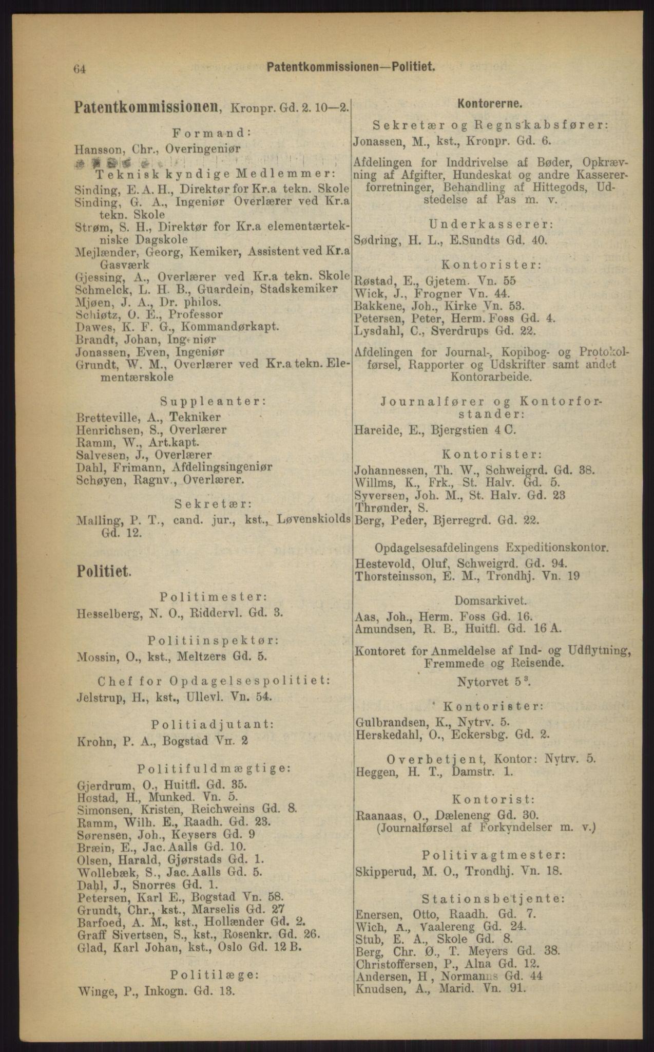 RA, Kristiania adressebok (publikasjon)*, 1903, s. 64