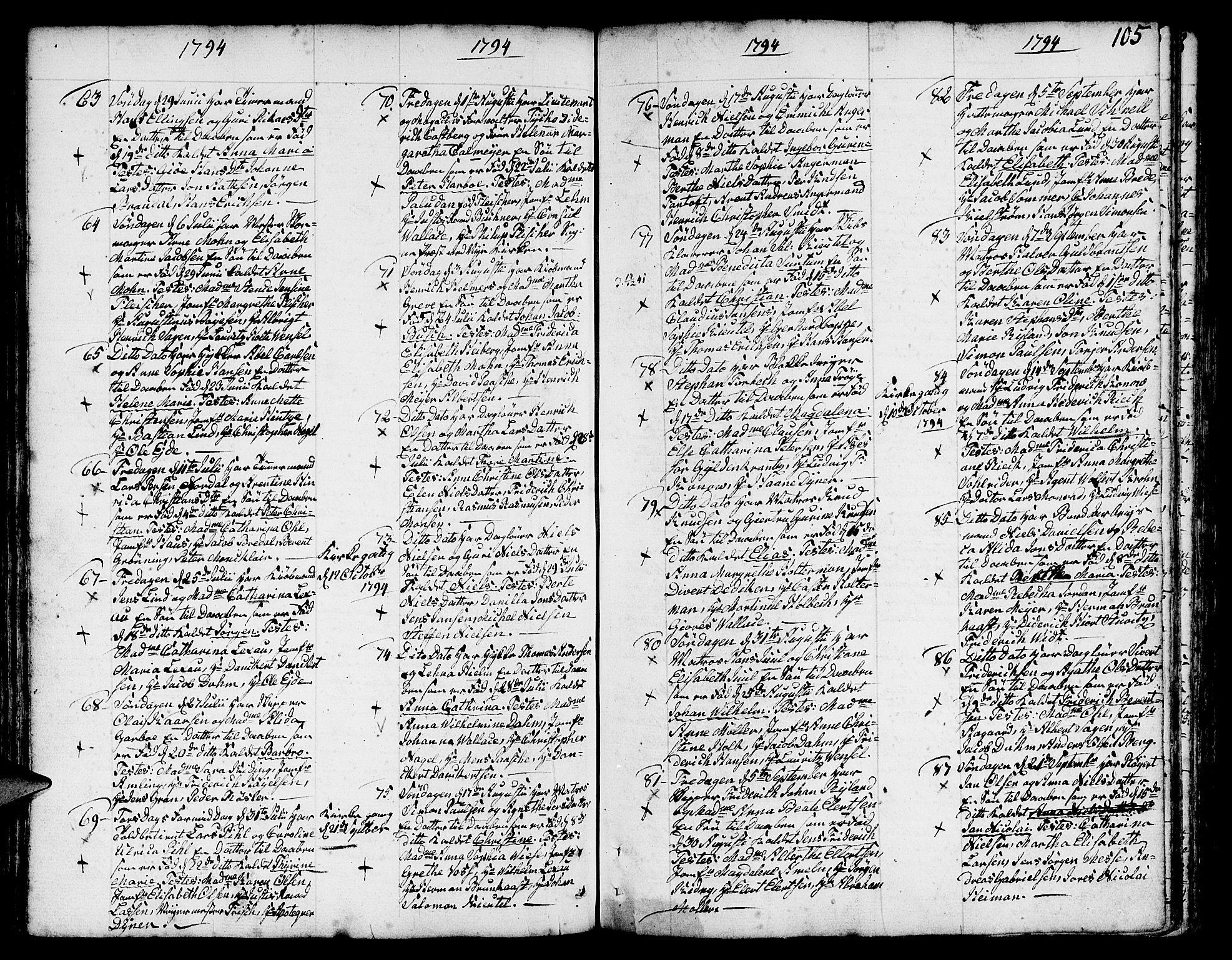 SAB, Nykirken Sokneprestembete, H/Haa: Ministerialbok nr. A 5, 1775-1808, s. 105