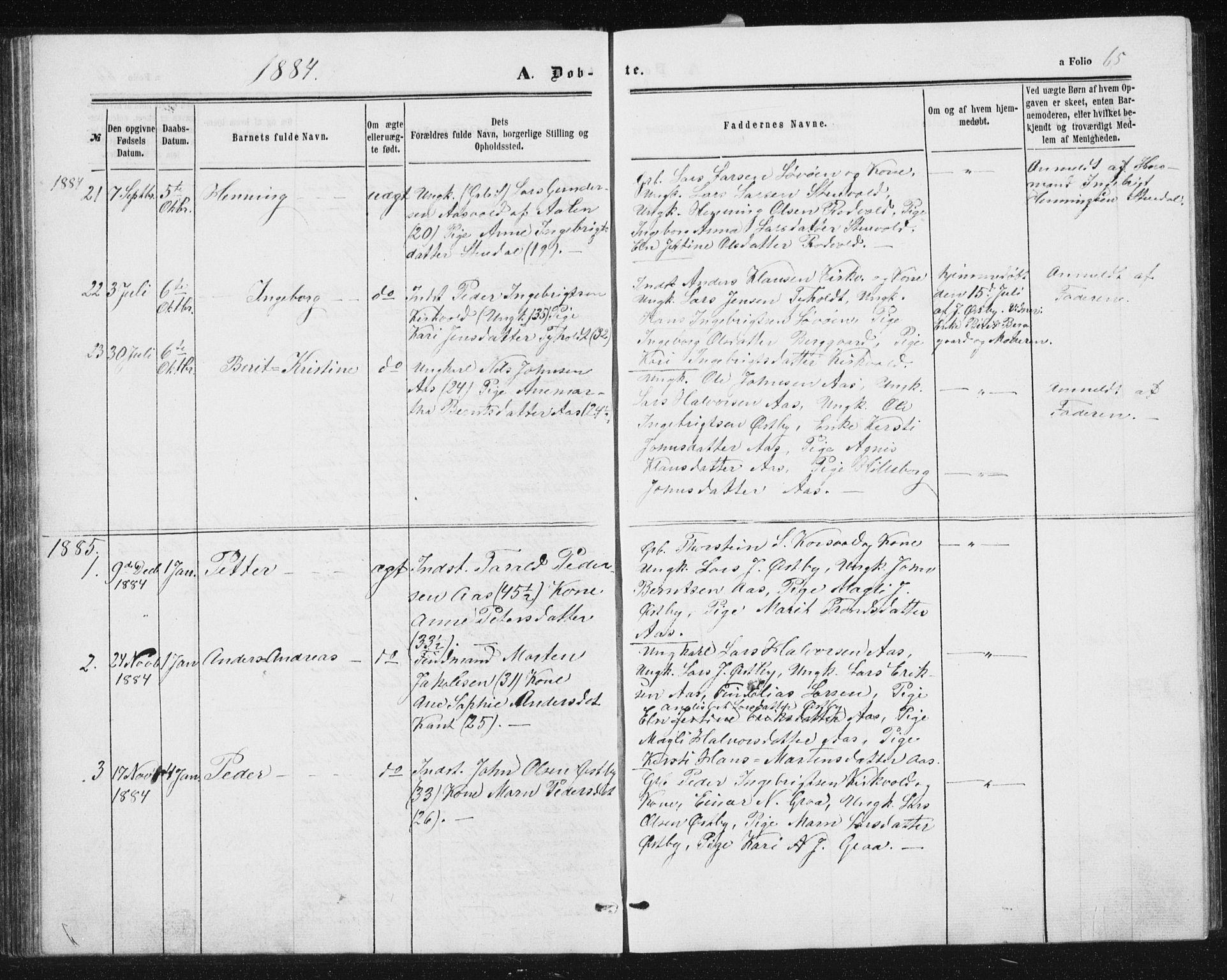 SAT, Ministerialprotokoller, klokkerbøker og fødselsregistre - Sør-Trøndelag, 698/L1166: Klokkerbok nr. 698C03, 1861-1887, s. 65