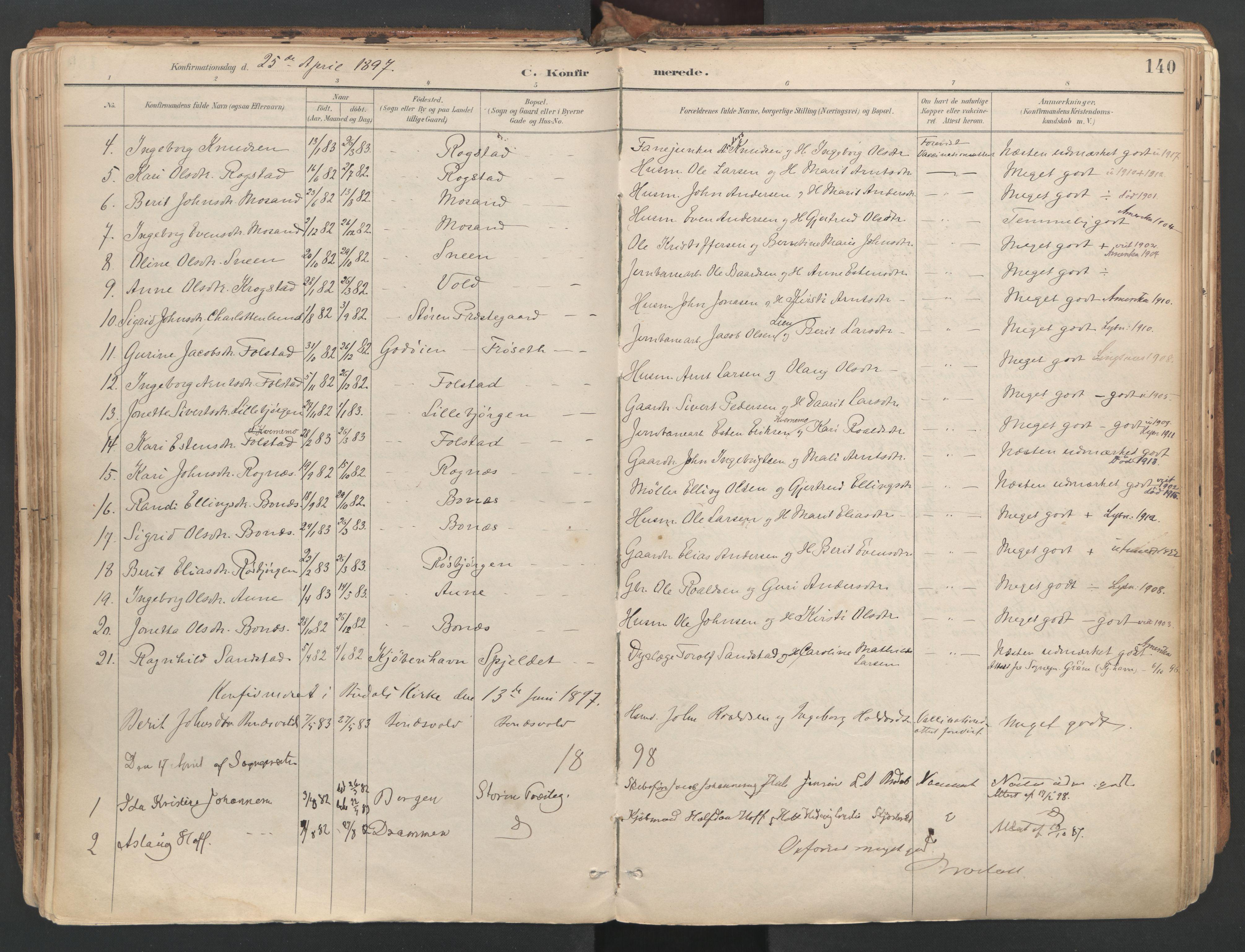 SAT, Ministerialprotokoller, klokkerbøker og fødselsregistre - Sør-Trøndelag, 687/L1004: Ministerialbok nr. 687A10, 1891-1923, s. 140