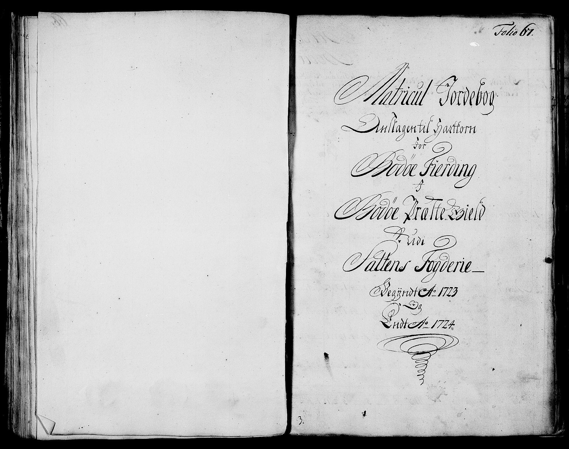 RA, Rentekammeret inntil 1814, Realistisk ordnet avdeling, N/Nb/Nbf/L0173: Salten matrikkelprotokoll, 1723, s. 66b-67a